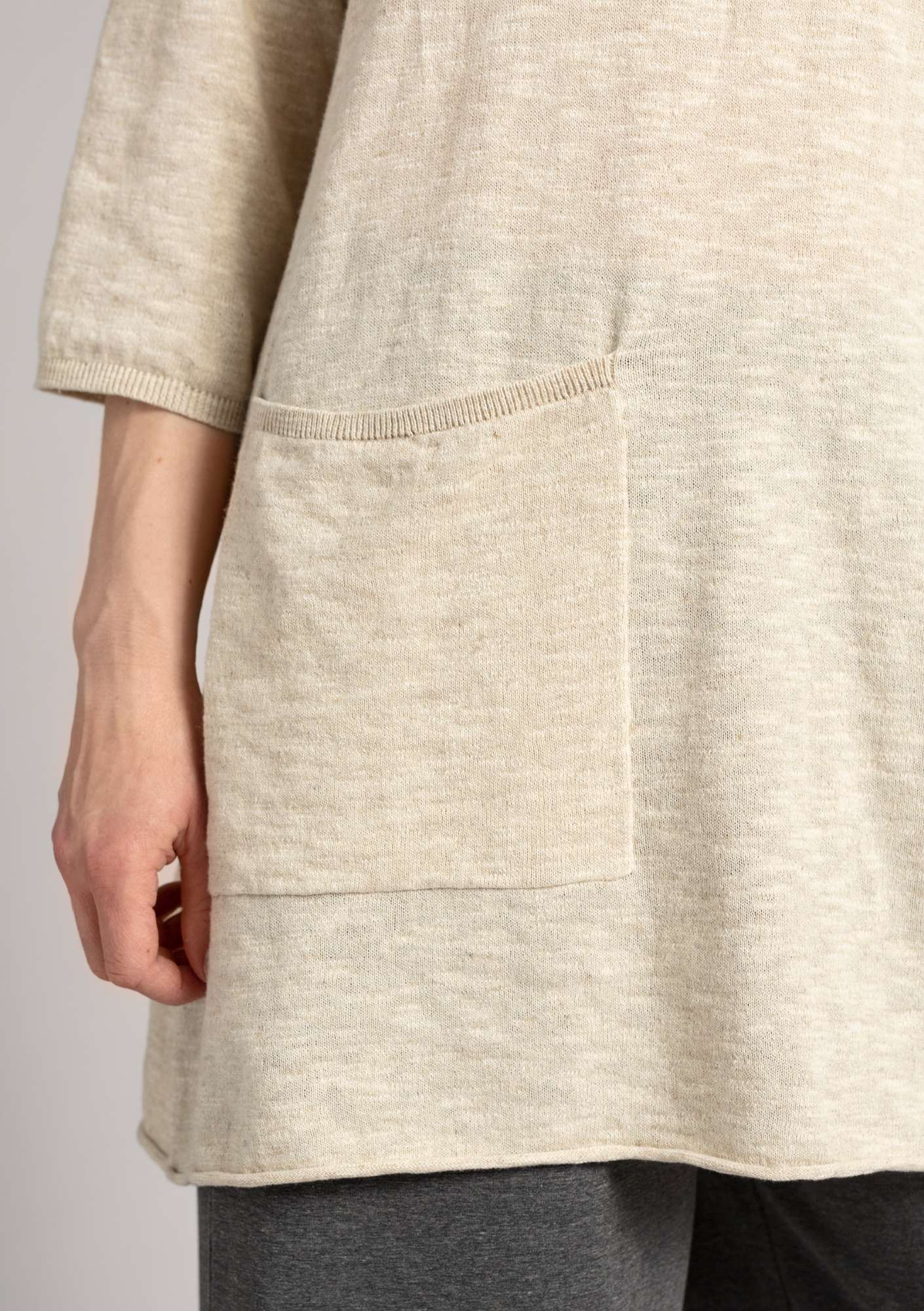 Tunic in organic cotton/linen eggshell