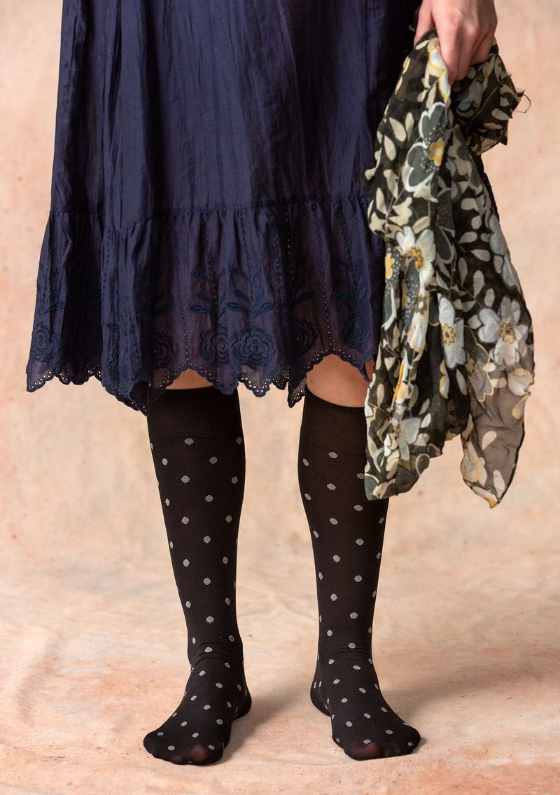 Dotted knee-highs in recycled polyamide black