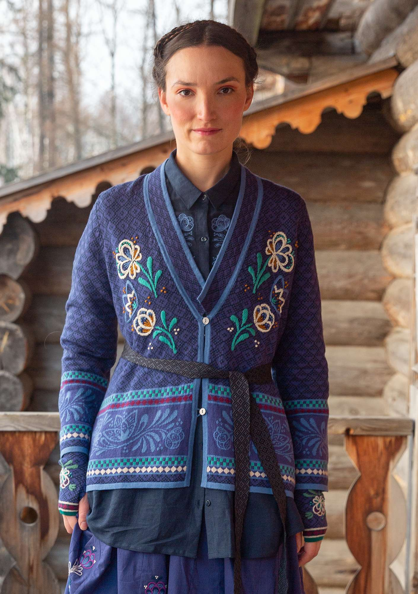 """Petrovska"" organic cotton/wool cardigan dark indigo"
