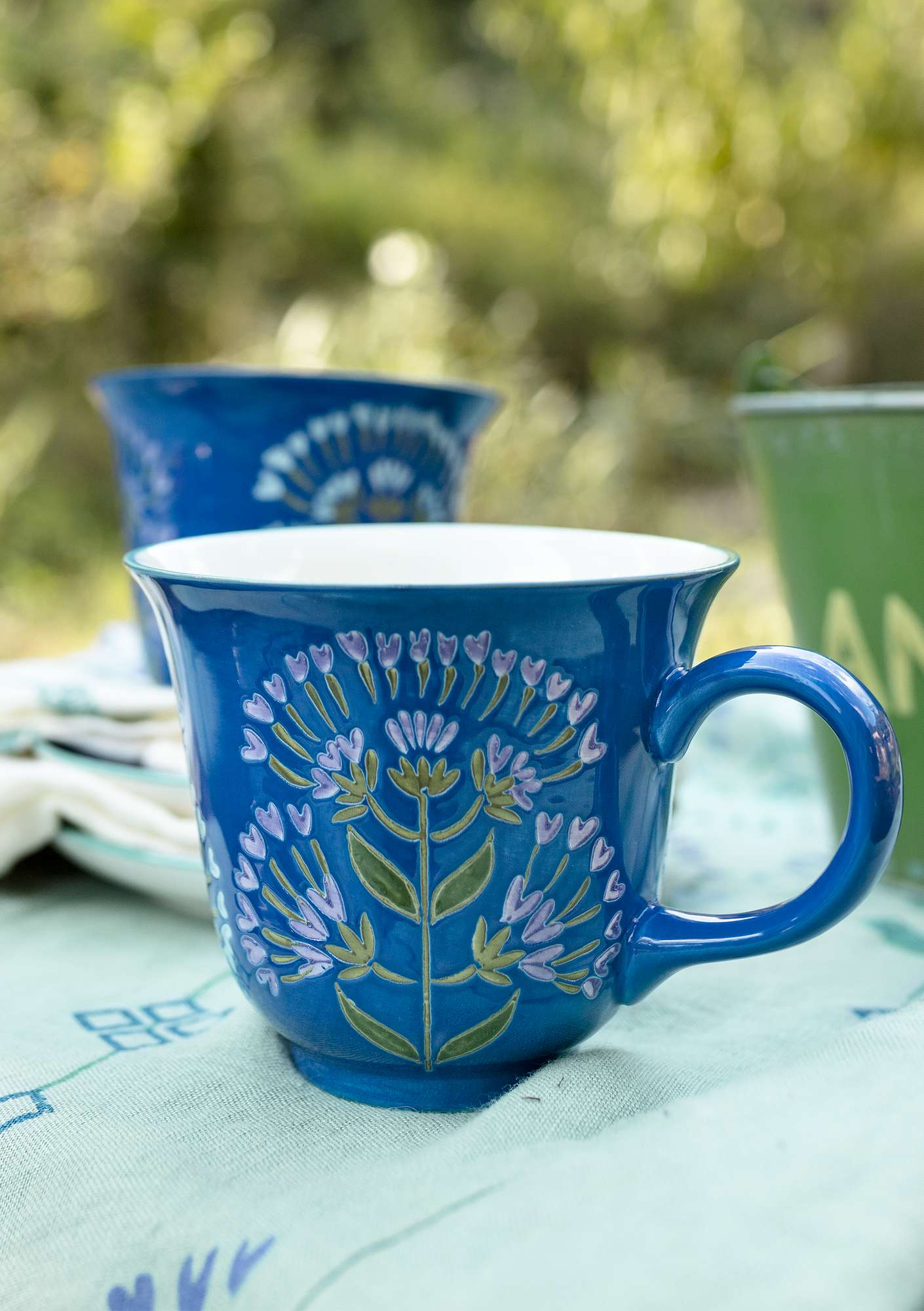 """Oregano"" ceramic teacup cornflower"