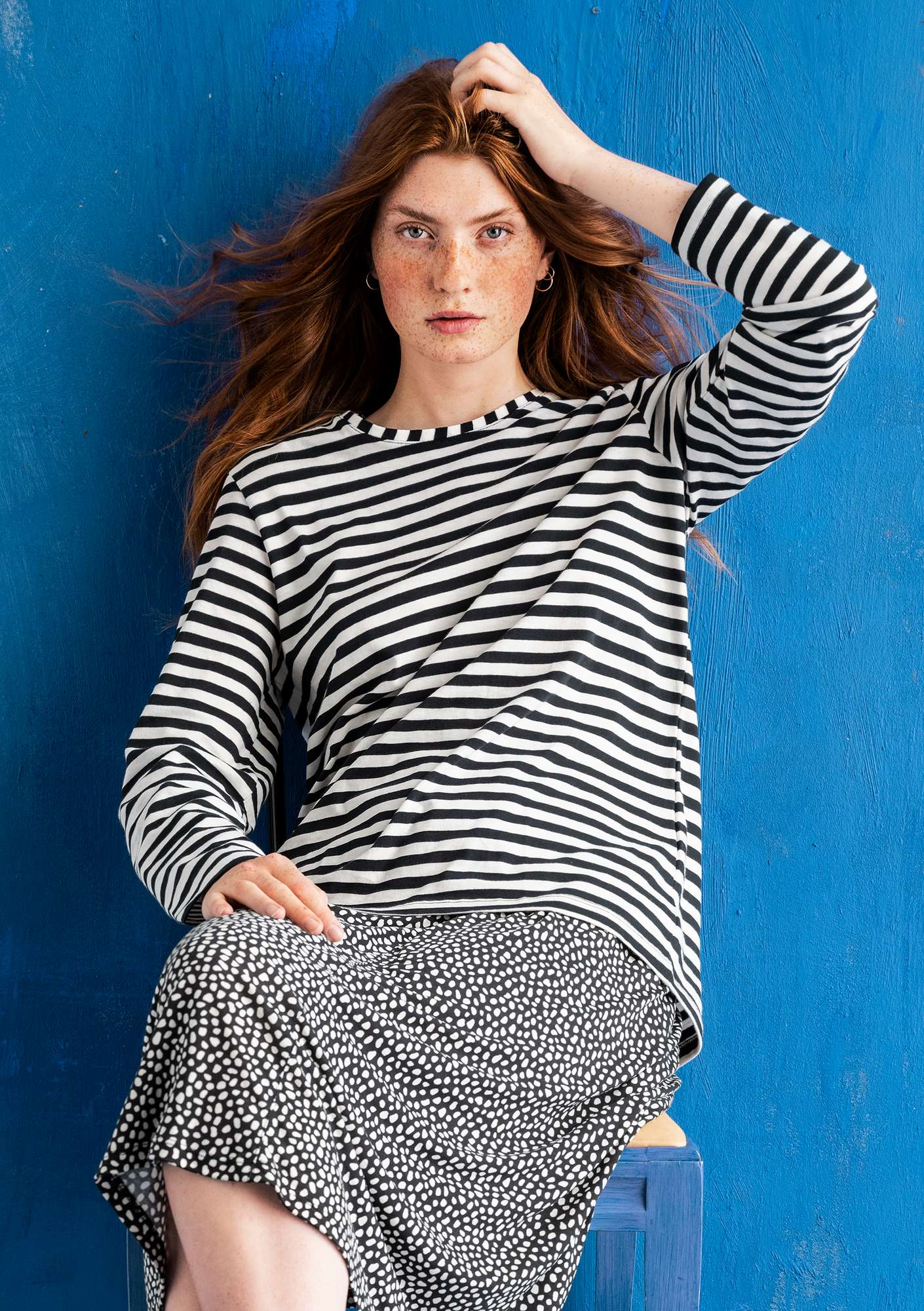 Organic cotton essential striped sweater black/ecru