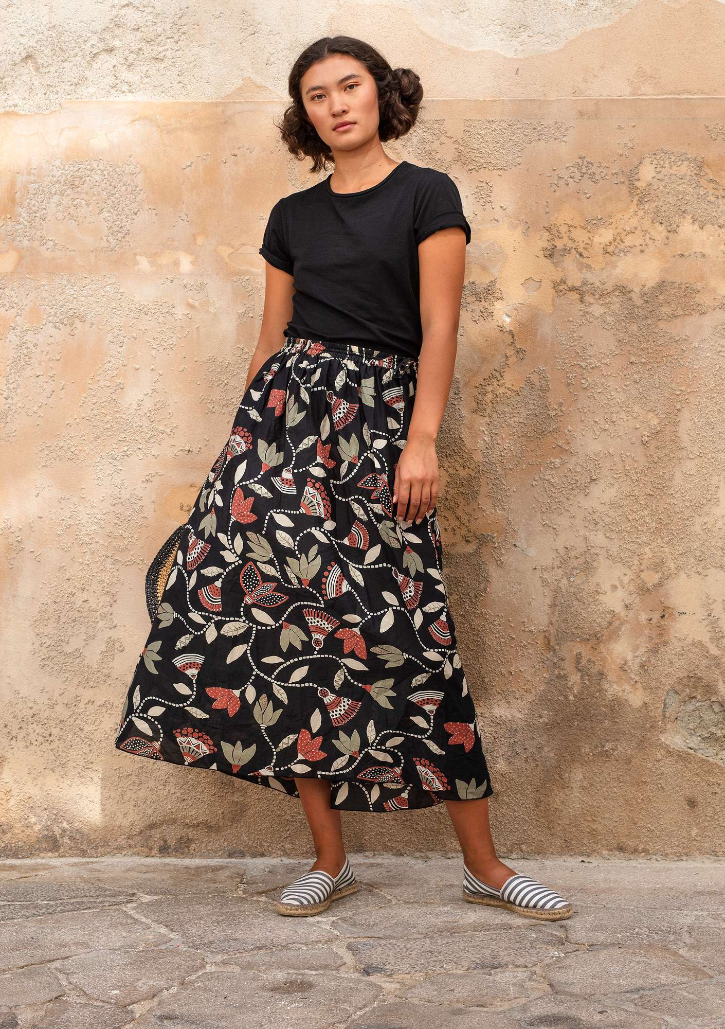 """Artemis"" skirt in organic cotton/silk black"