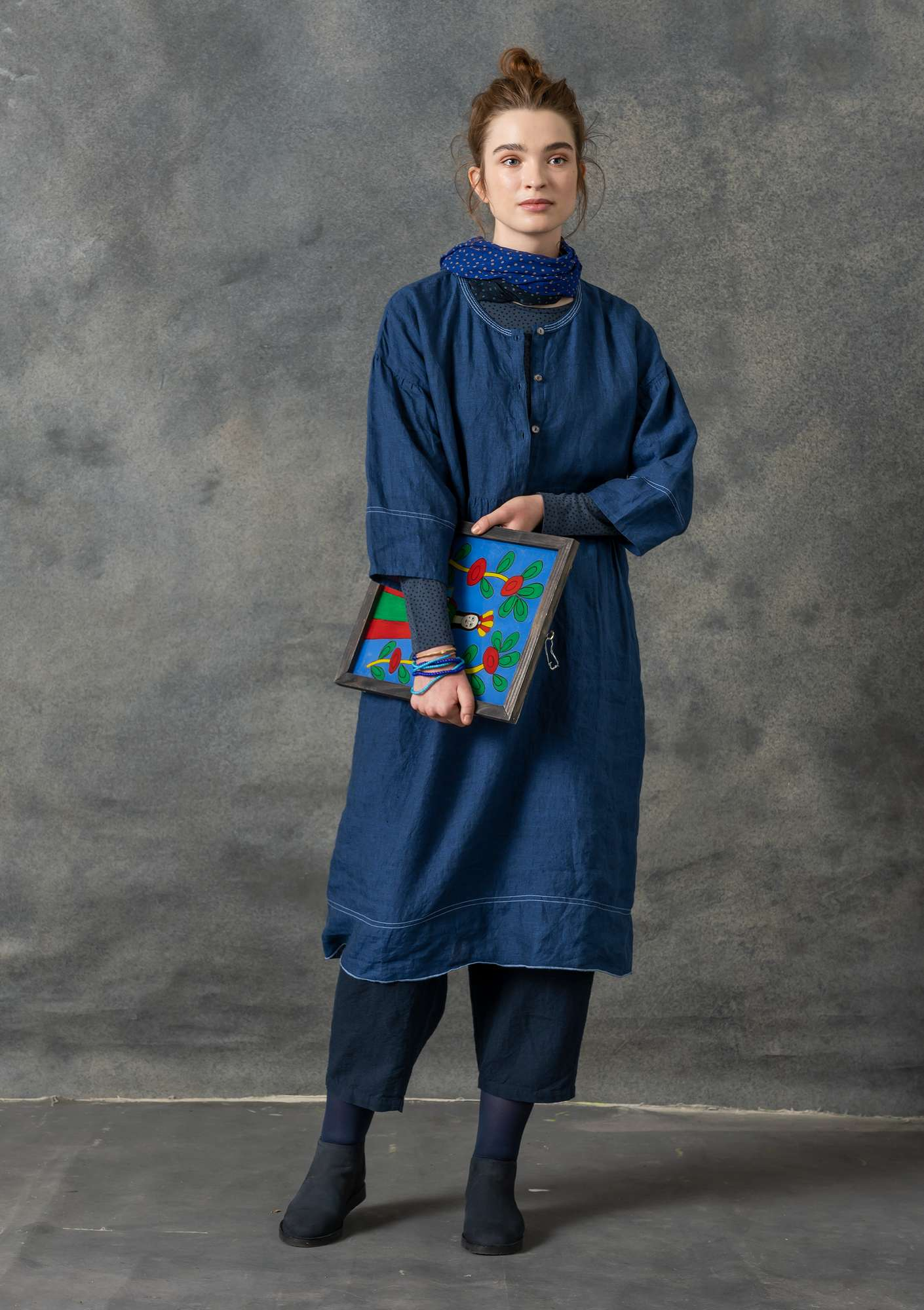 Eco-linen chambray dress indigo