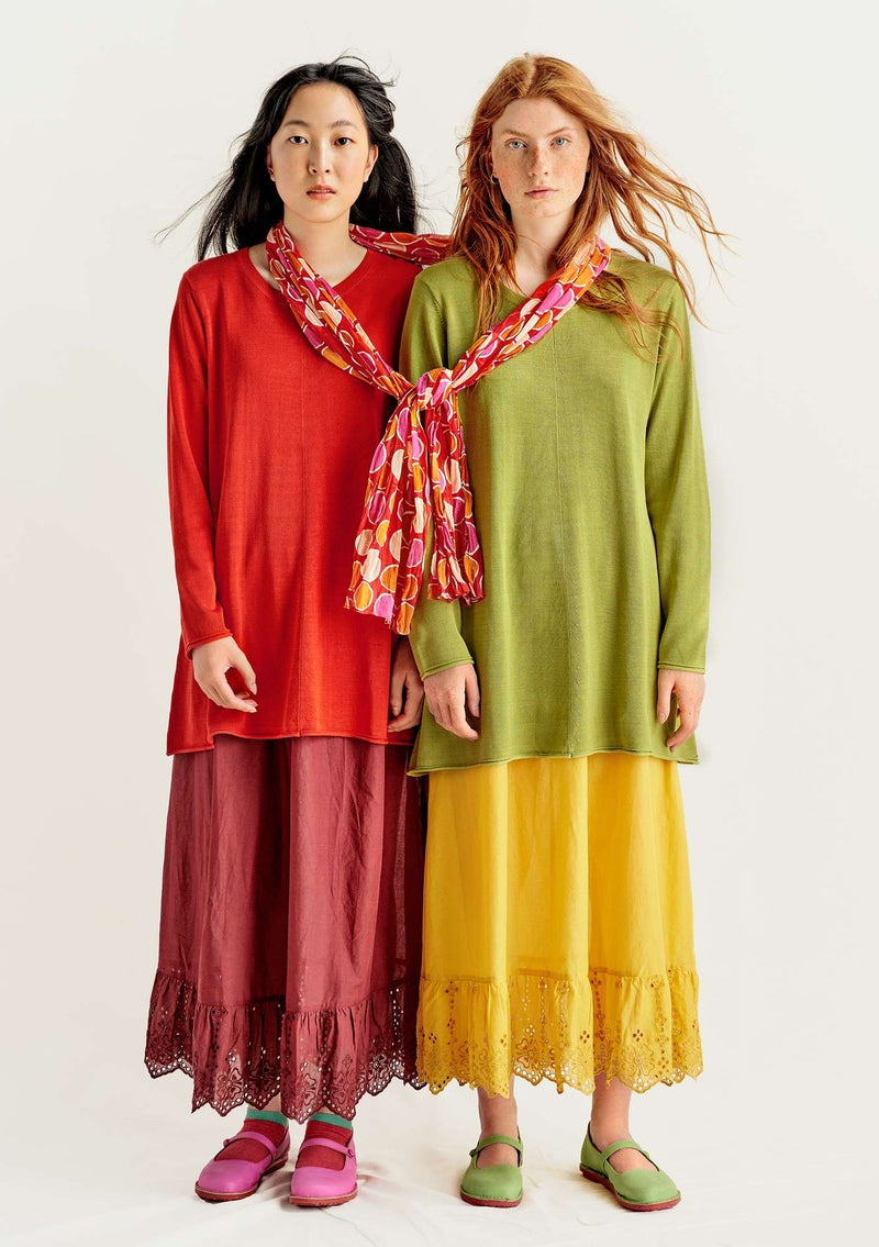 Knit tunic in plated silk/organic cotton bright red