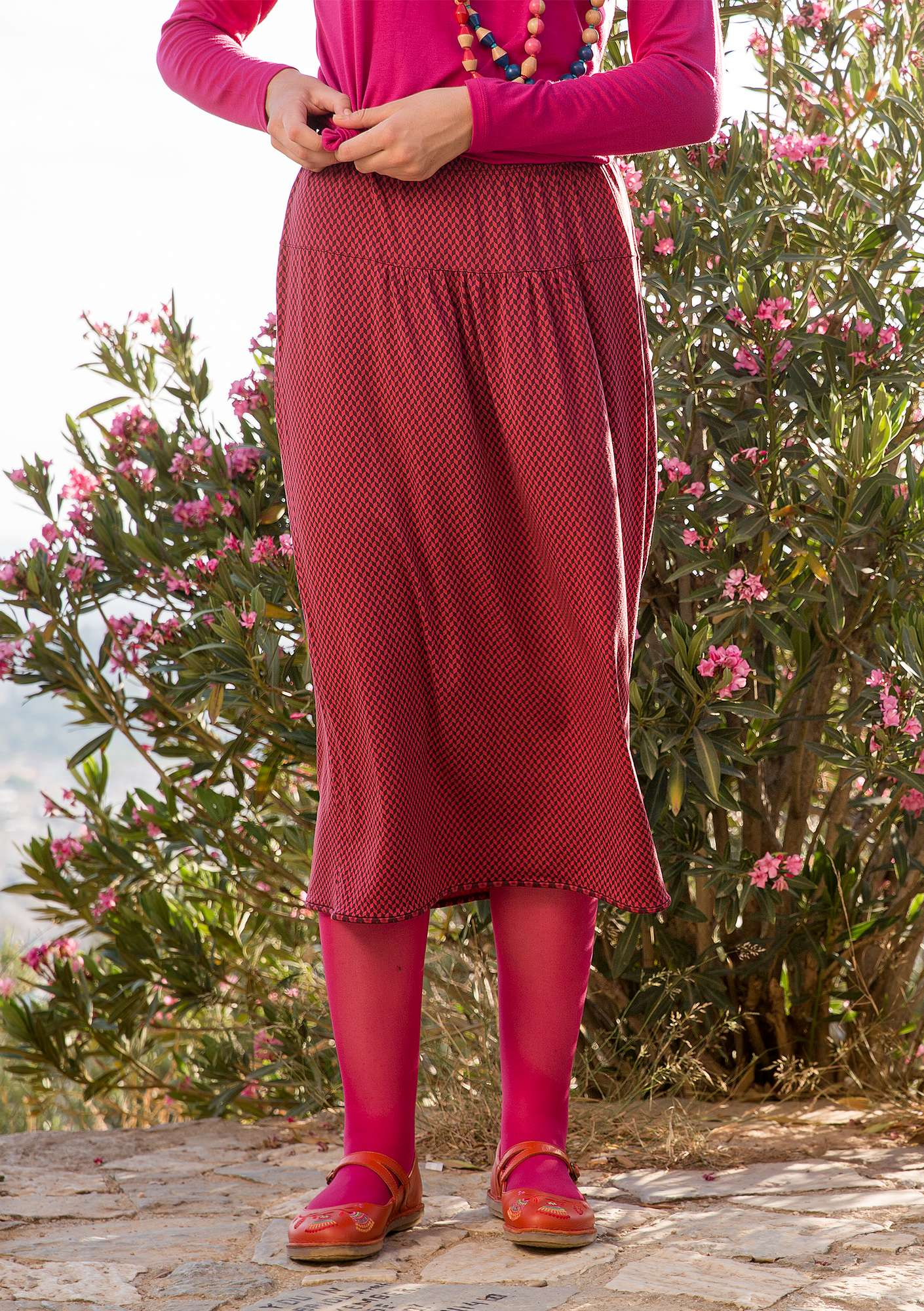 """Mini"" skirt in lyocell/spandex beetroot"