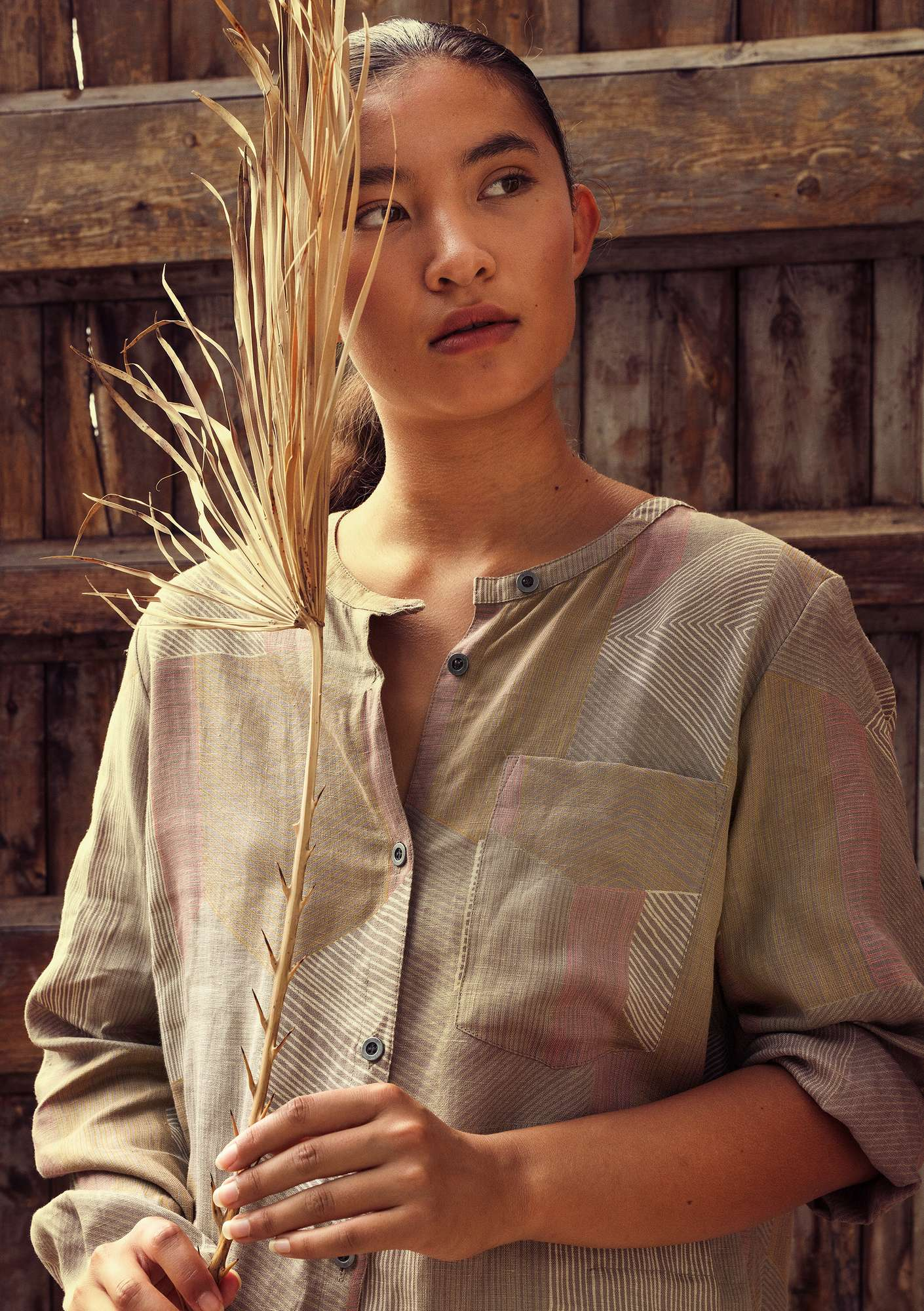 """Octo"" shirt dress in lyocell/linen light potato"