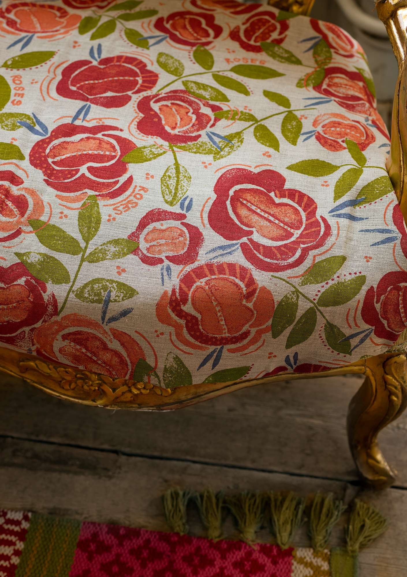 Roses fabric  coral