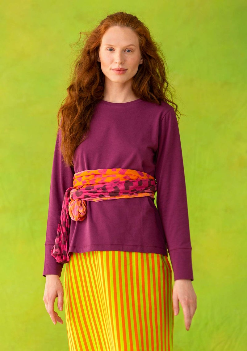 Long-sleeve top in organic cotton/spandex grape