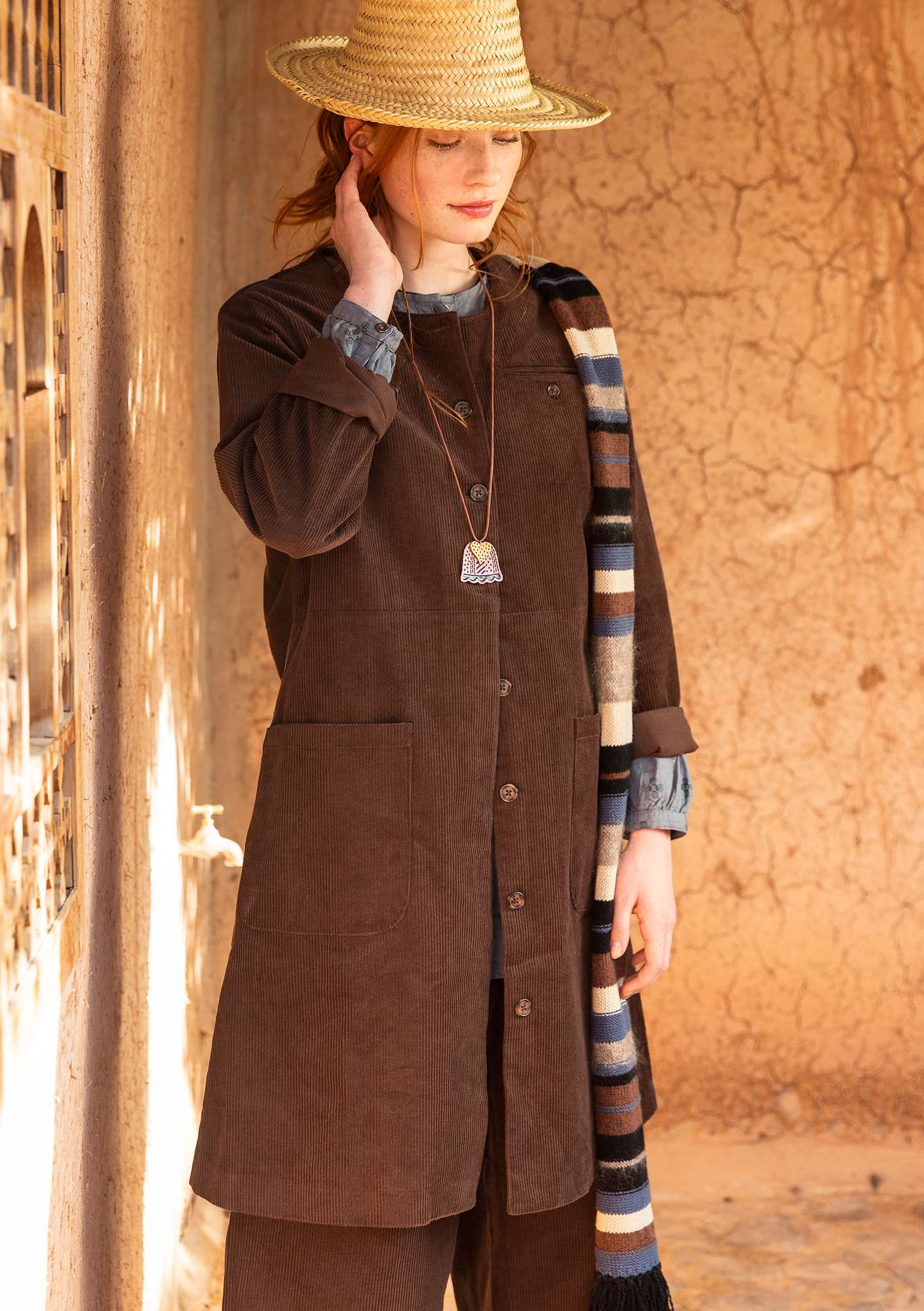 Coat in organic cotton corduroy mullberry