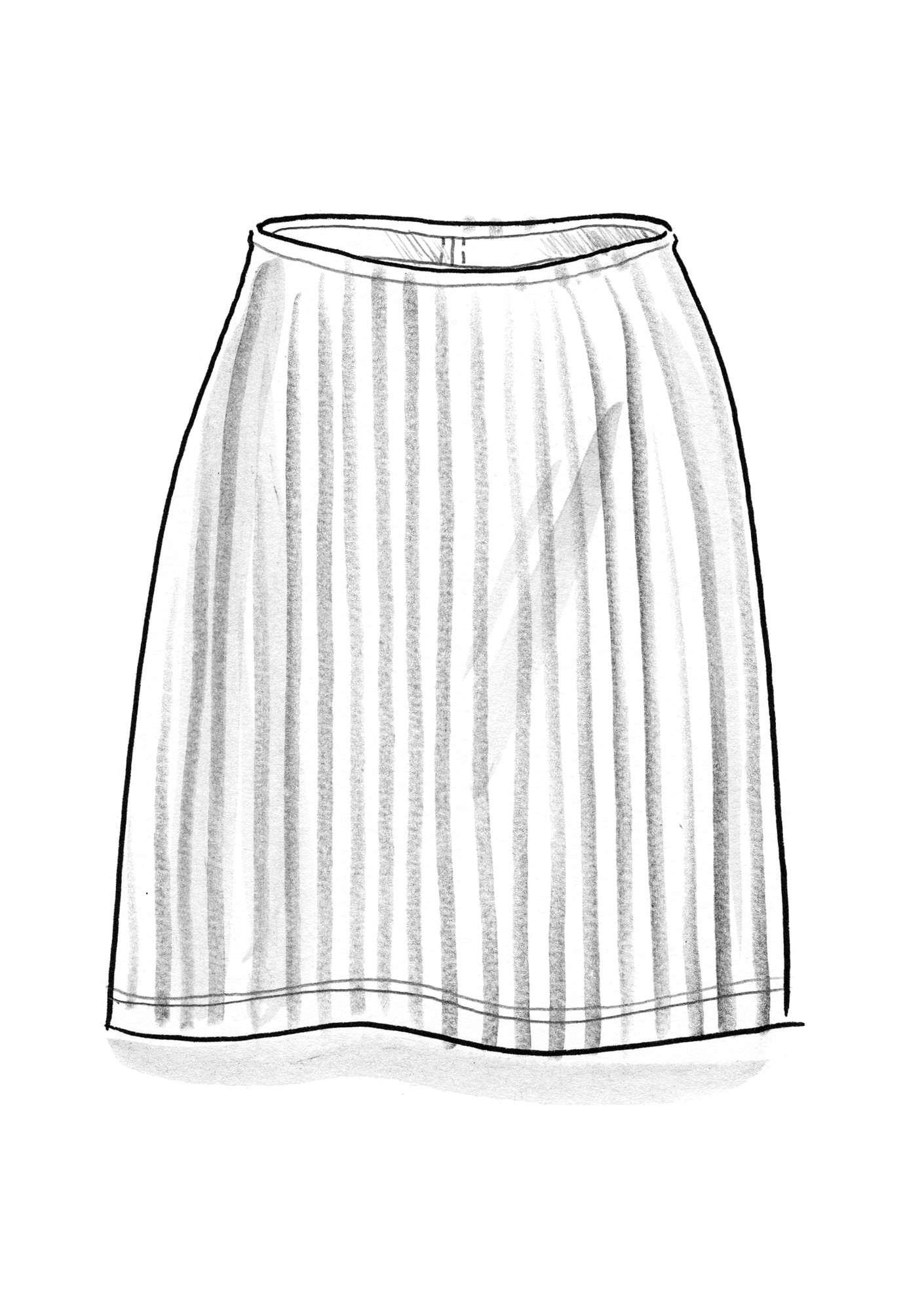 Striped skirt in organic cotton black/unbleached