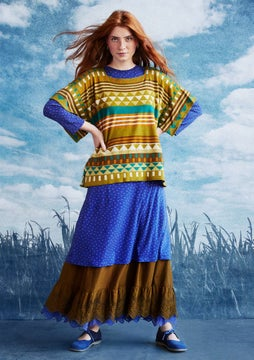 Abstrakt poncho sweater meadow green