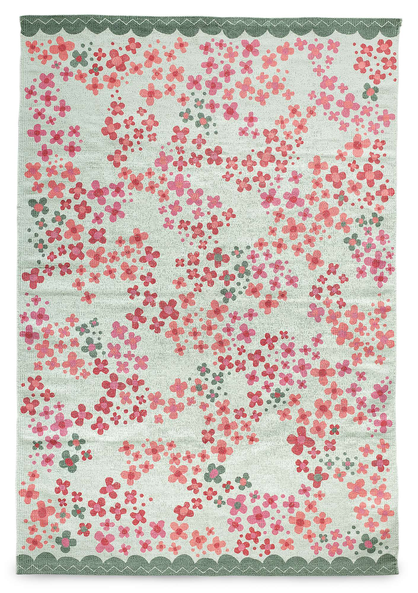 """Blomsteräng"" cotton mat mint"