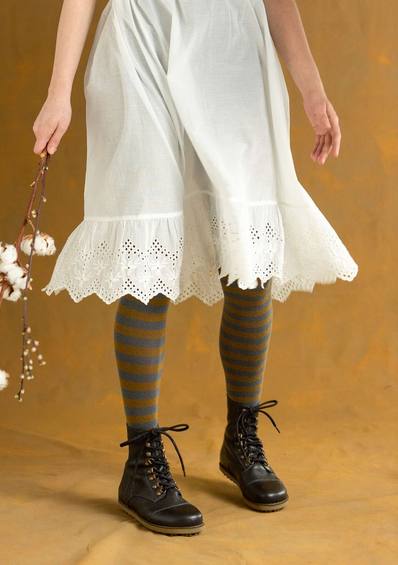 Striped organic cotton tights agave/brass