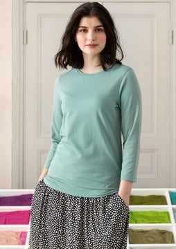 Solid-colour jersey top celadon