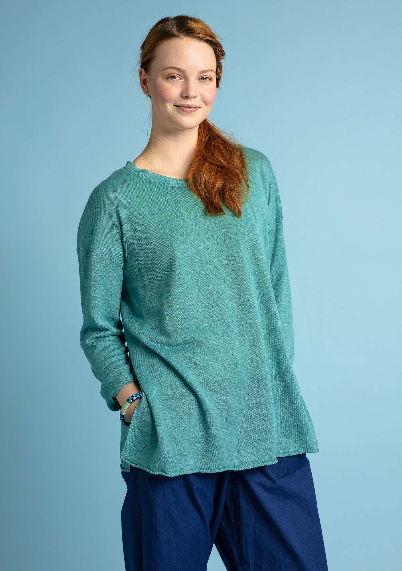 Knit tunic in organic linen jade