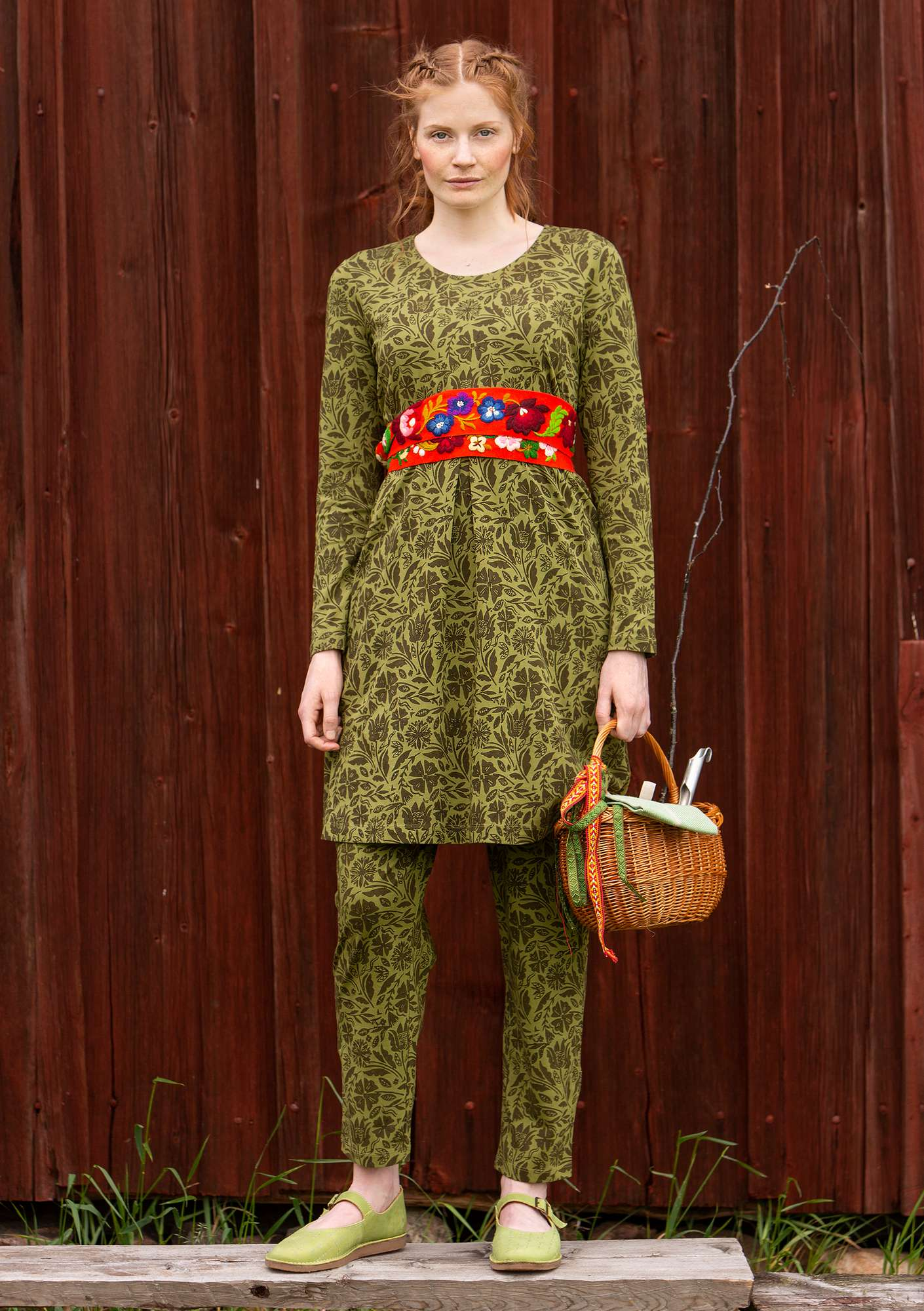 """Amber"" organic cotton tunic moss green"