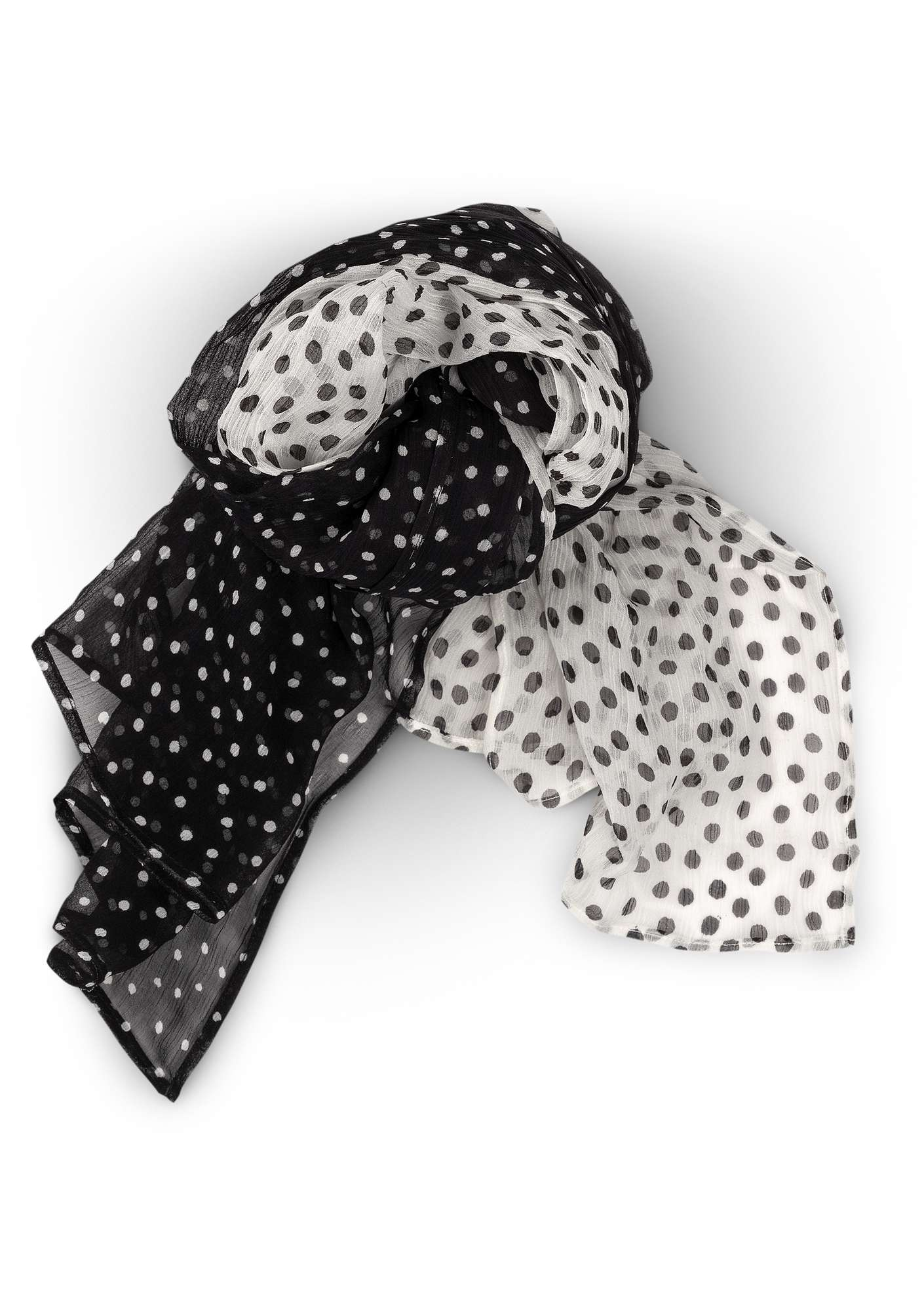 Silk chiffon dotted shawl black/unbleached