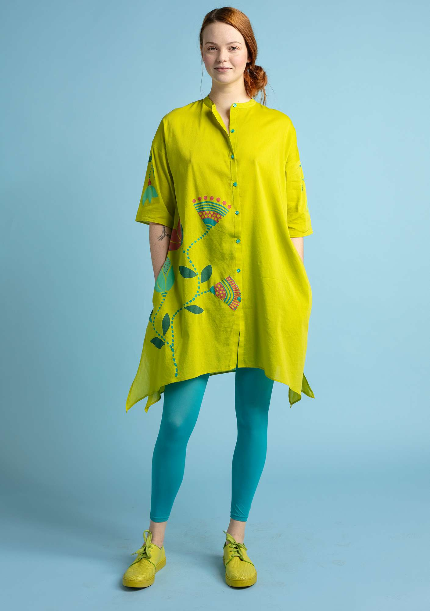 """Diana"" eco-cotton/silk tunic leaf green"
