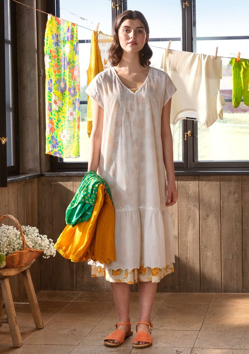 Woven dress in organic cotton light ecru
