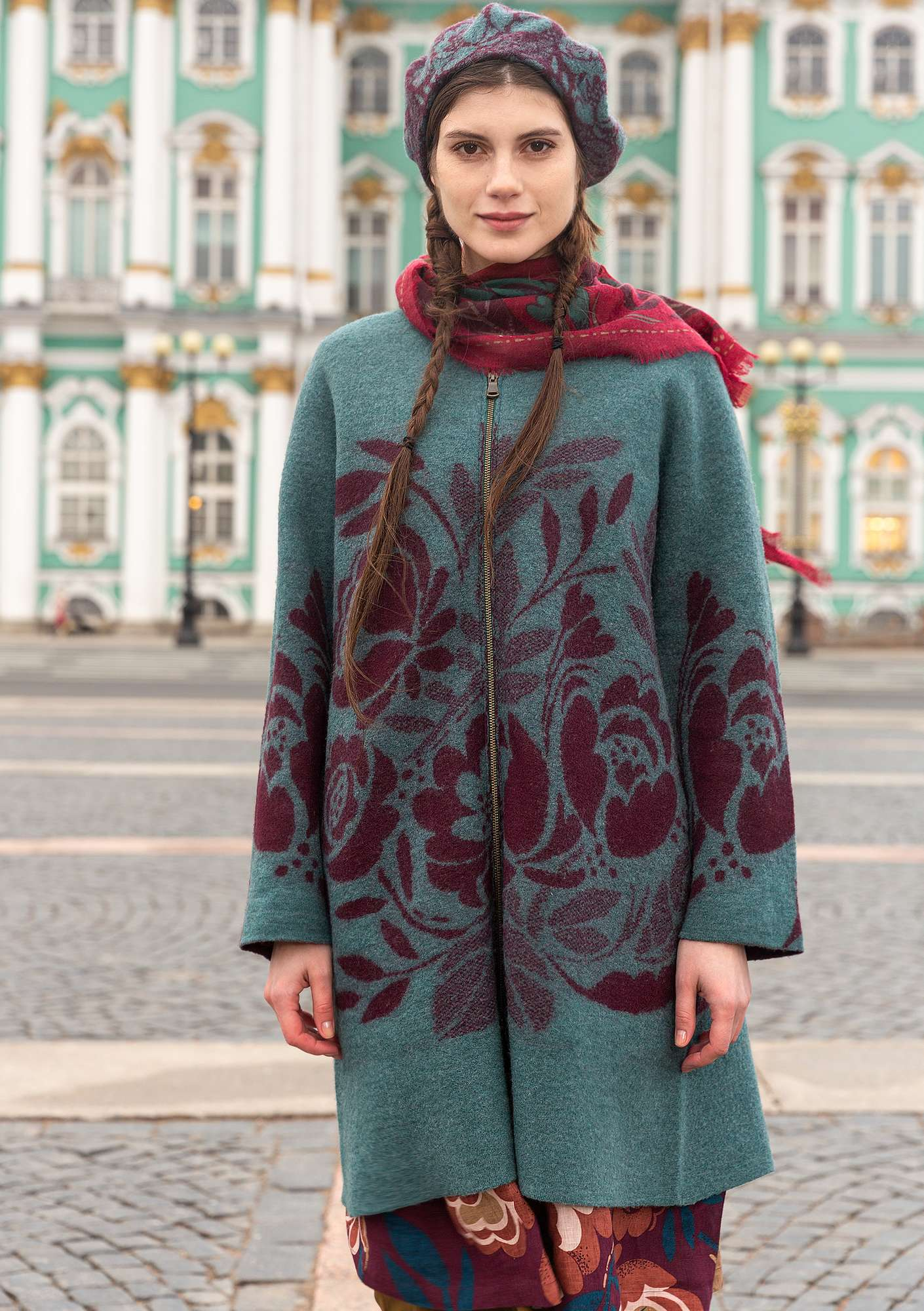Roza felted coat opal green/melange