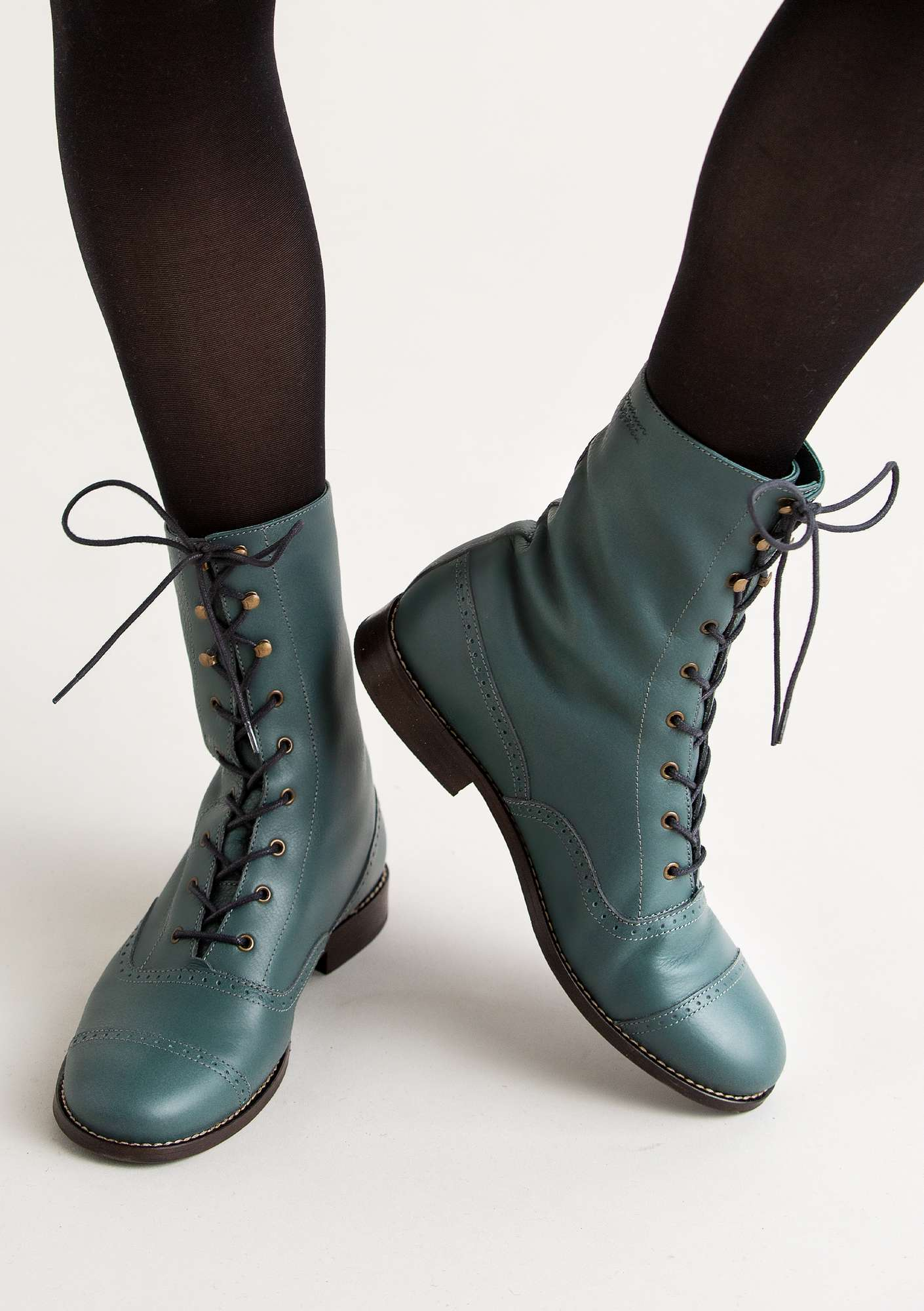 """Kristina"" lace-up nappa ankle boots agave"