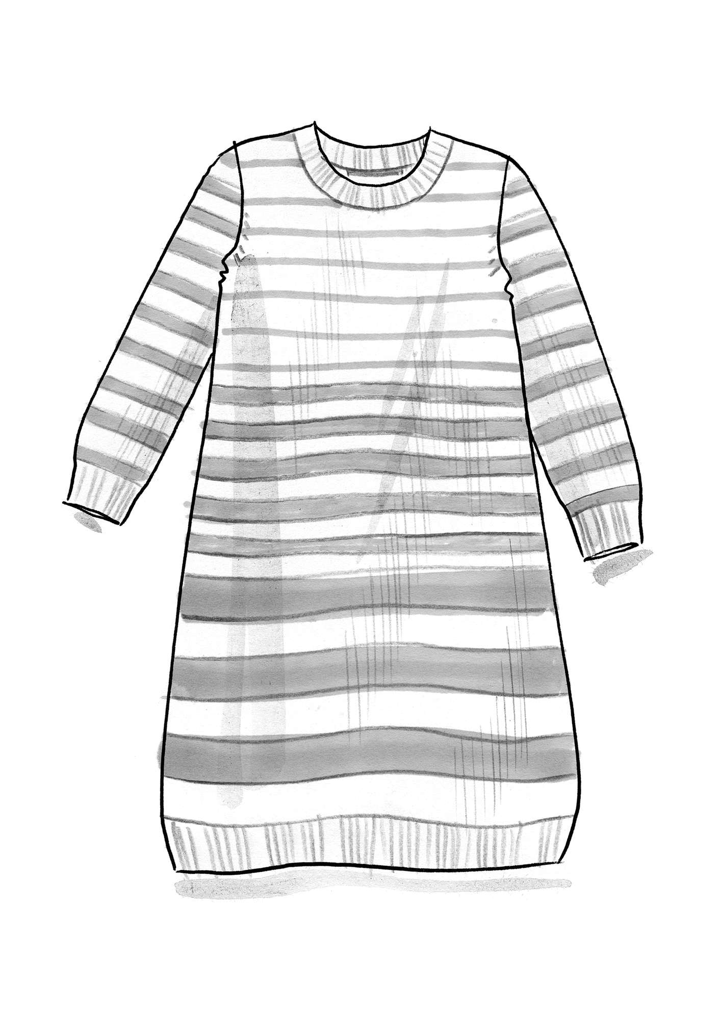 Striped tunic in recycled cotton dark indigo