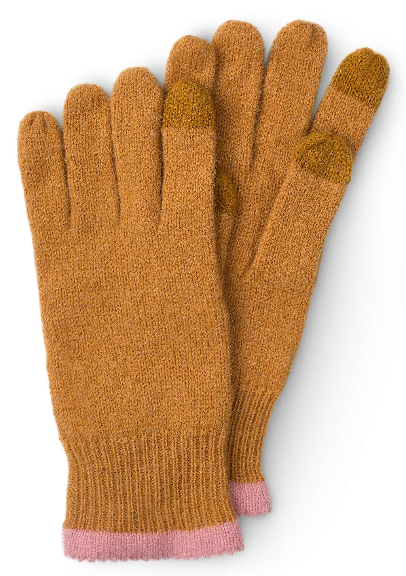 Alpaca blend gloves with touchscreen function ocher