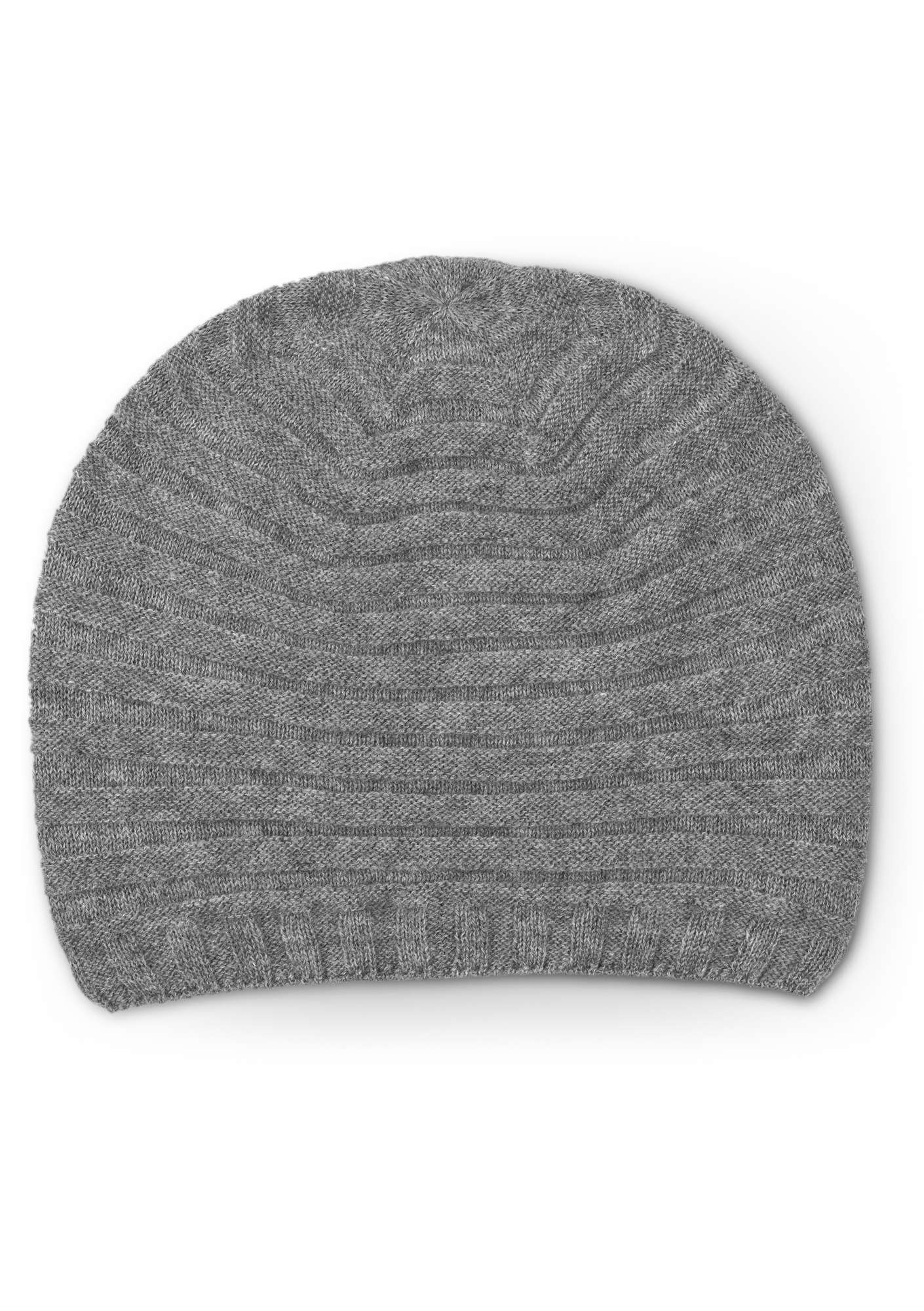 Pleated hat in a recycled cashmere blend gray melange
