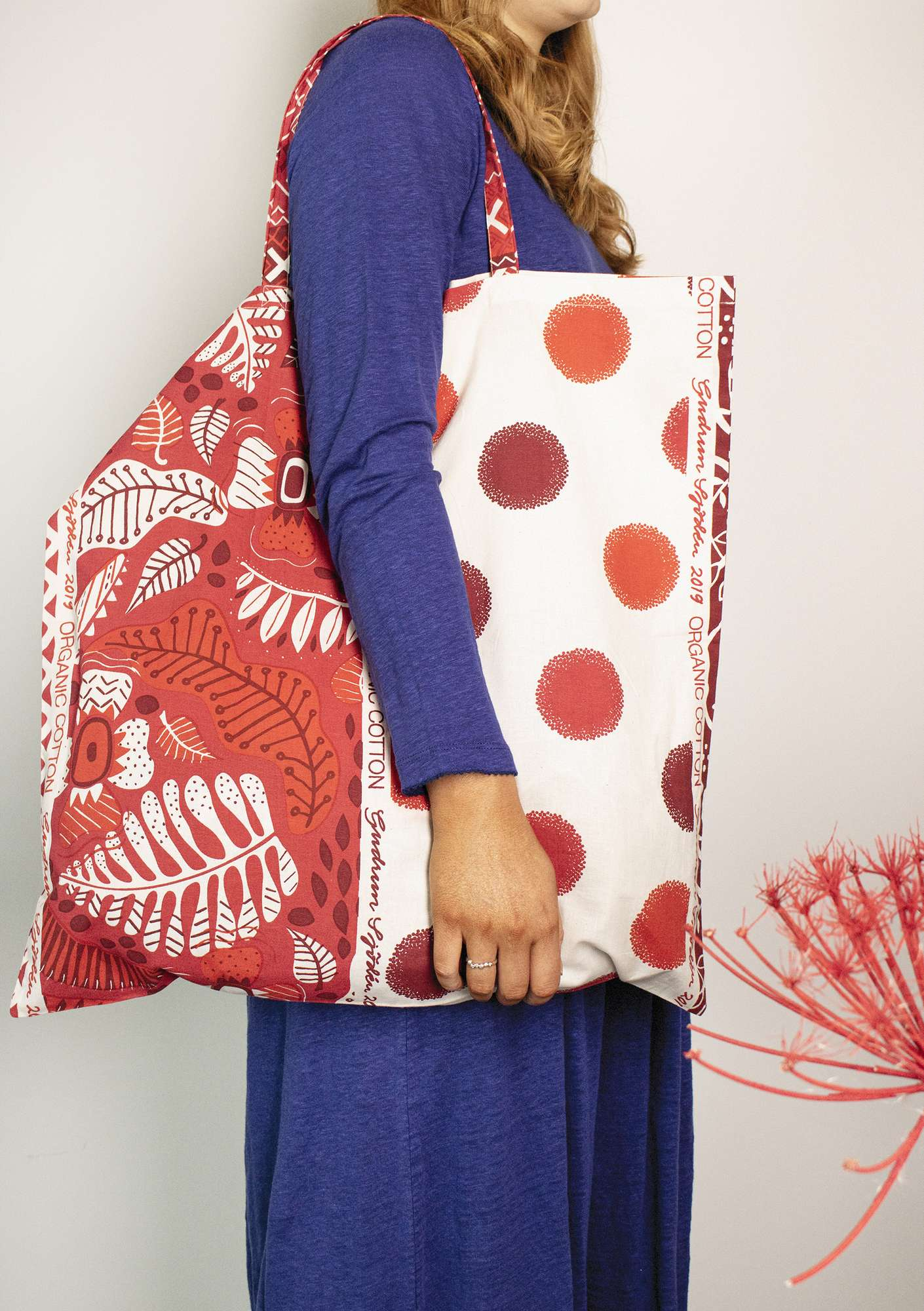 Organic cotton fabric tote bag L tomato