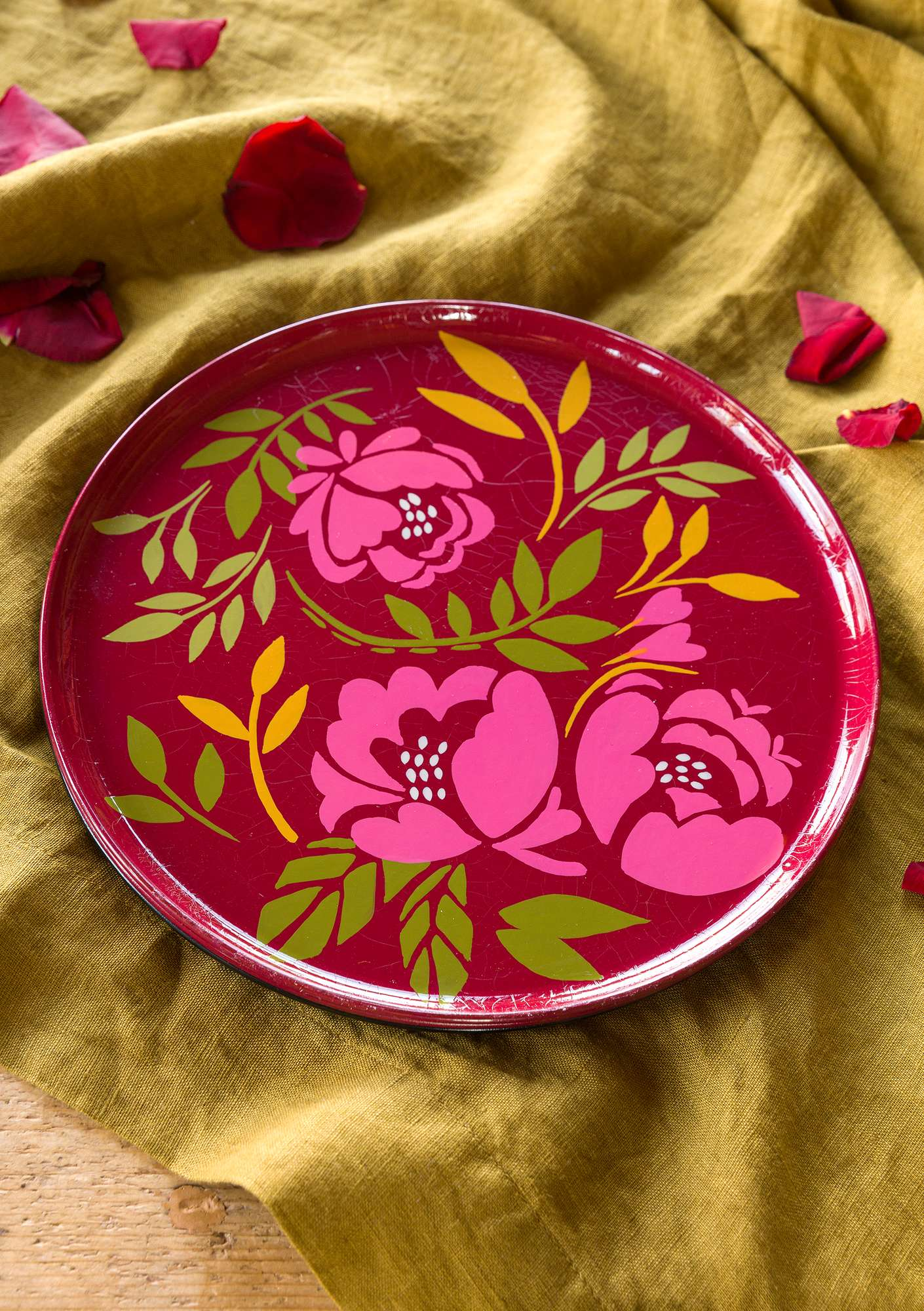 """Roza"" metal tray pink orchid"