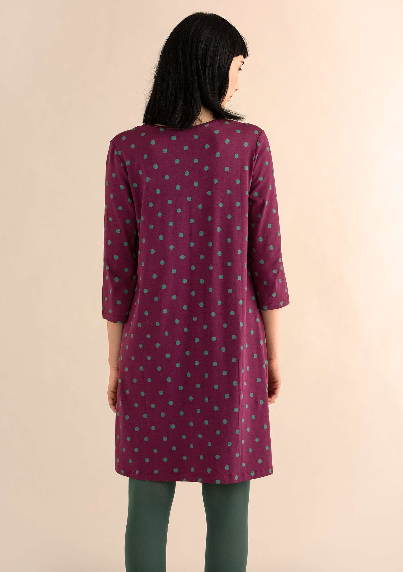 DOT dress in modal/eco-cotton/spandex grape/patterned