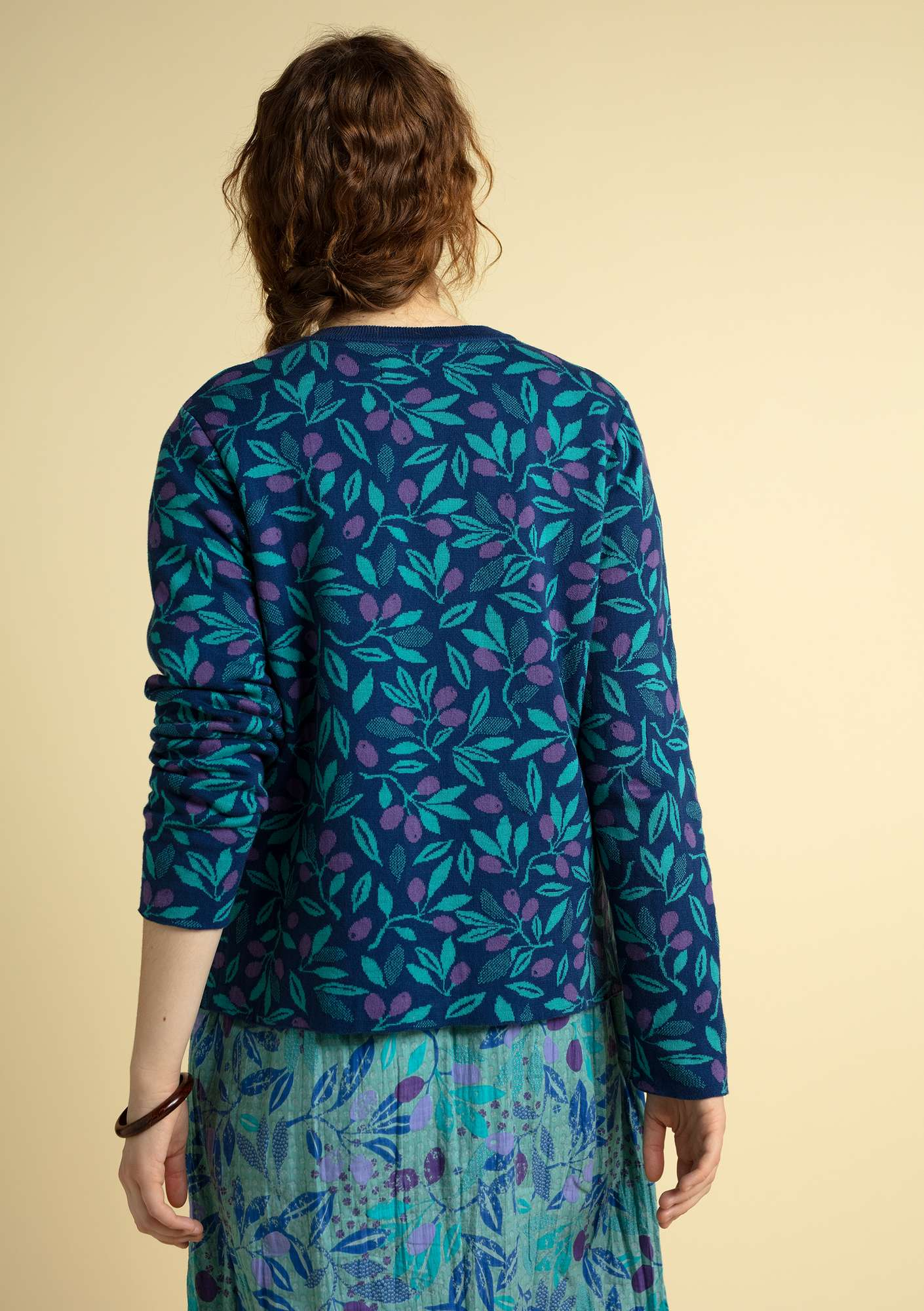 """Oliv"" cardigan in eco-cotton indigo"