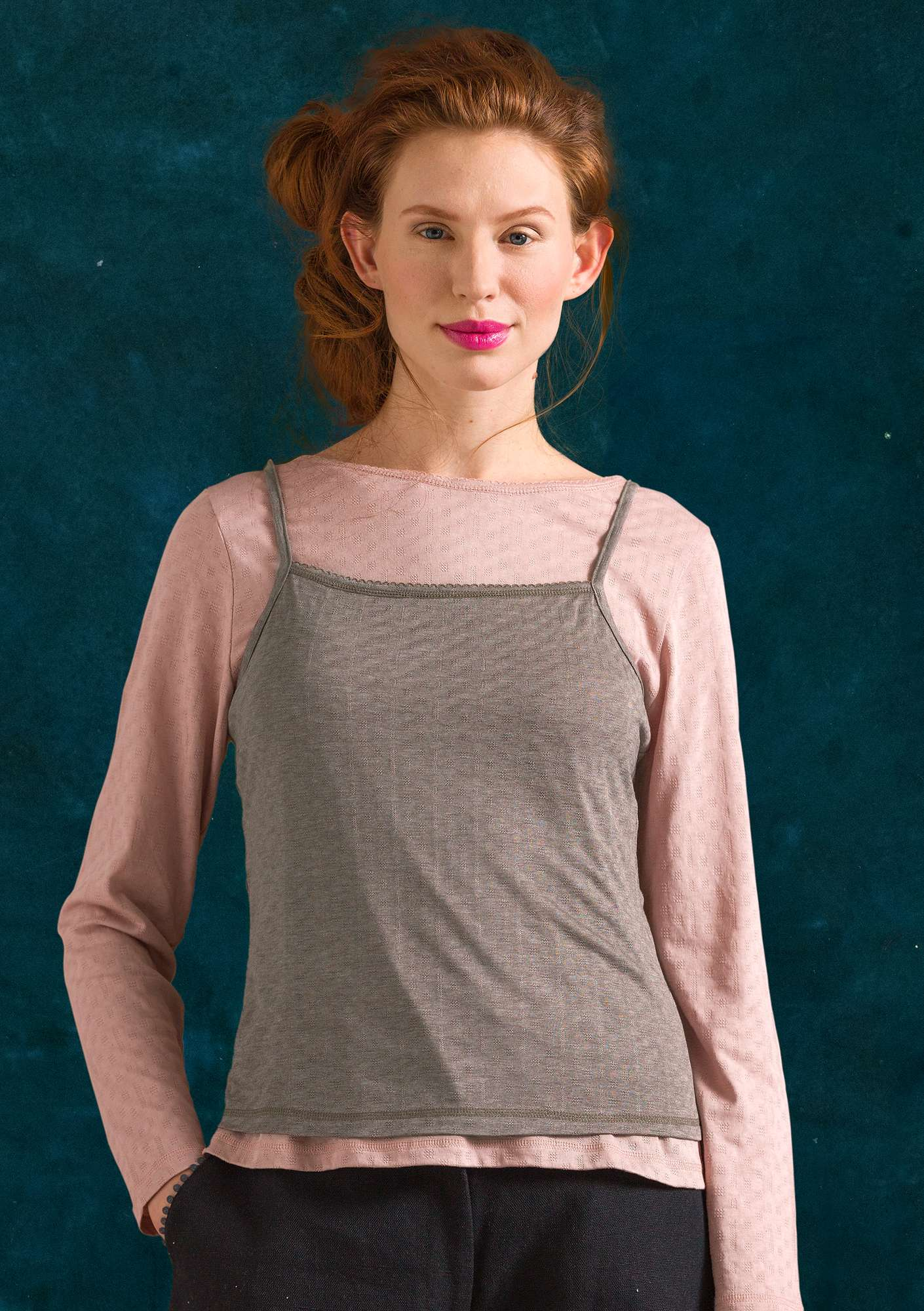 Pointelle tank top in organic cotton/modal light potato melange