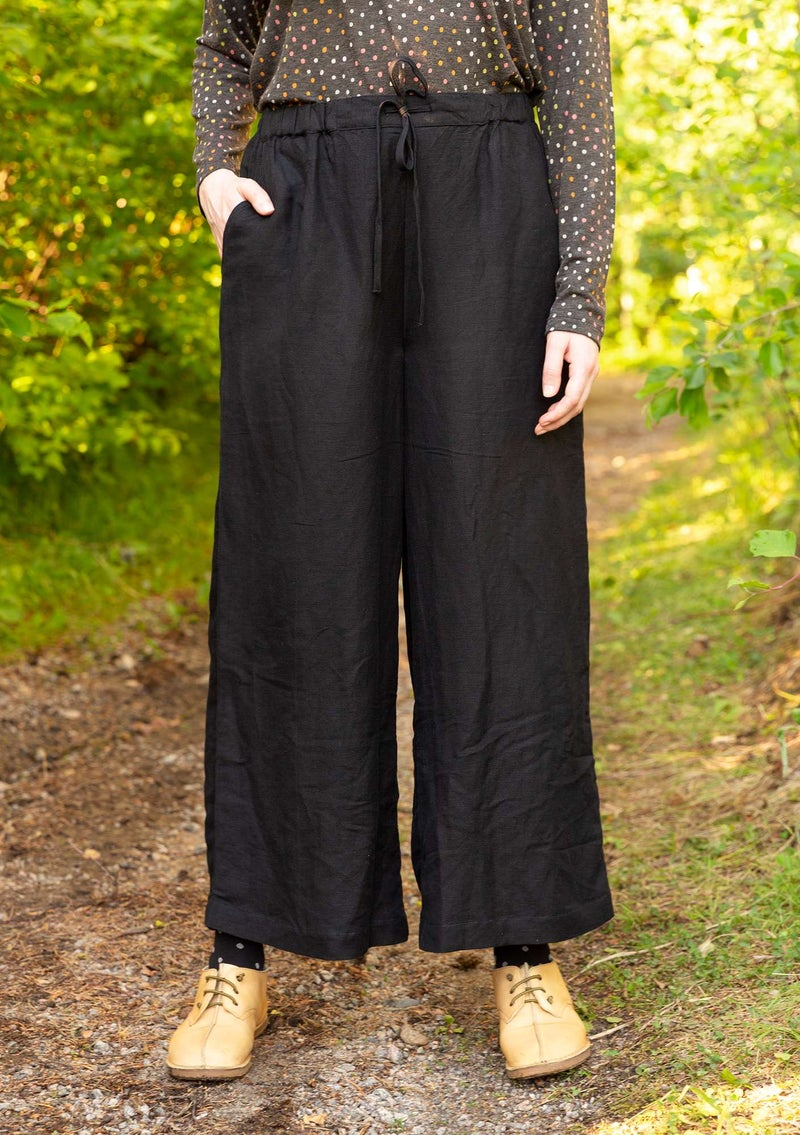 Trousers in linen/modal black