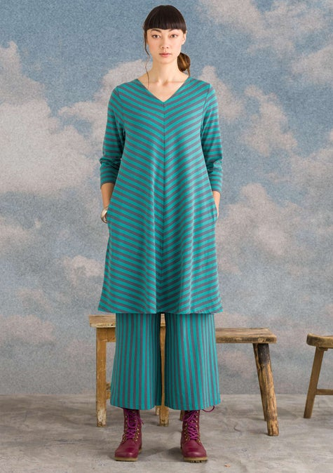 Striped dress aqua green/agave