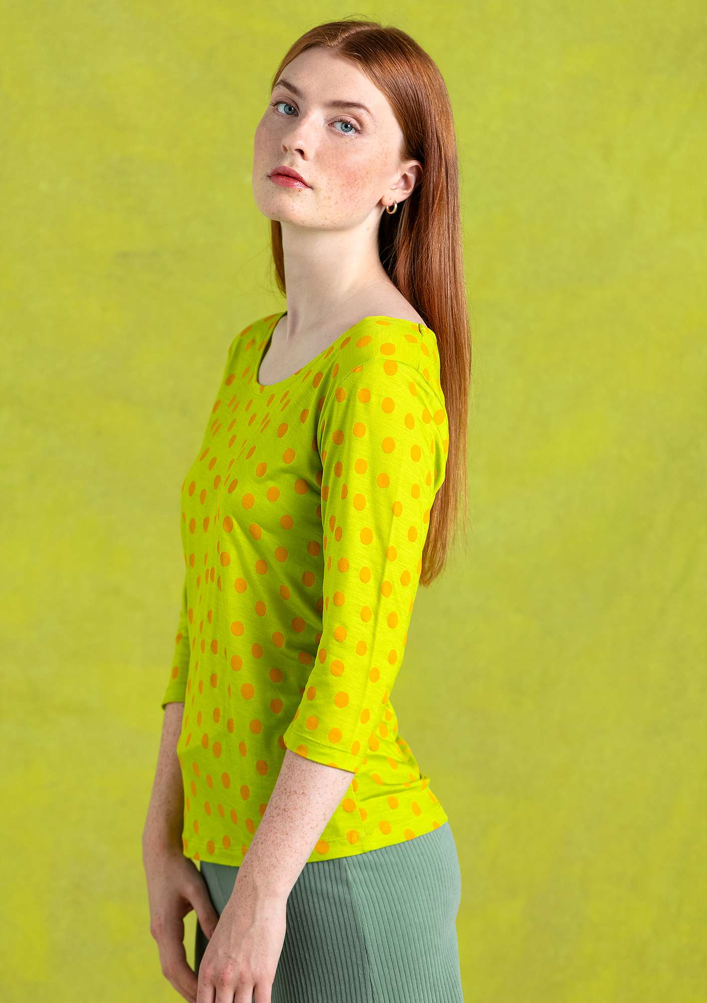 """Josefin"" lyocell top tropical green"