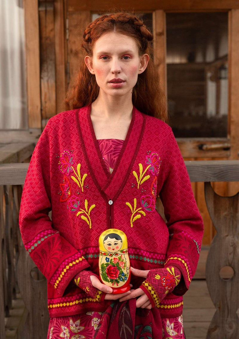 """Petrovska"" organic cotton/wool cardigan cranberry"