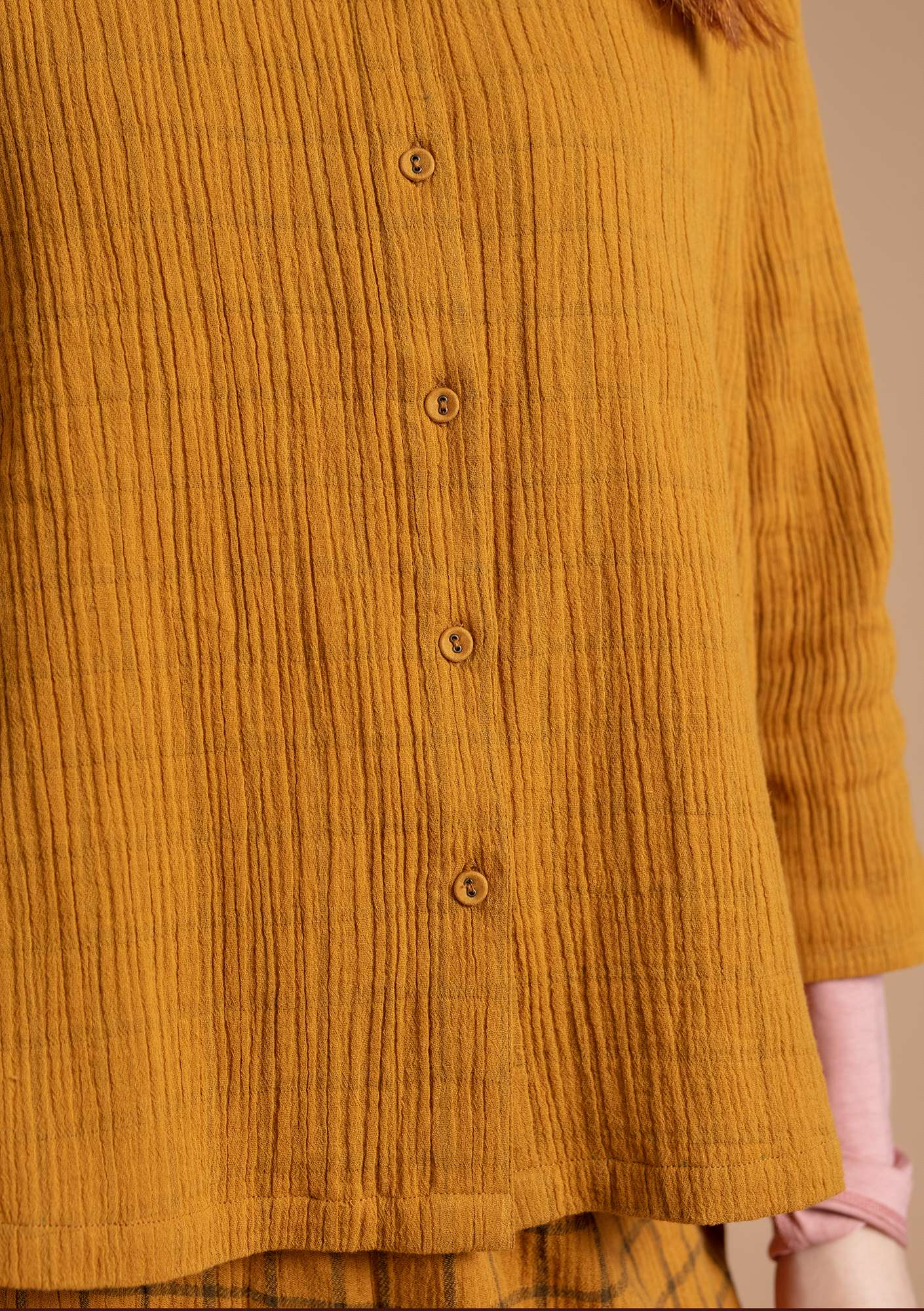 Blouse in organic cotton mustard