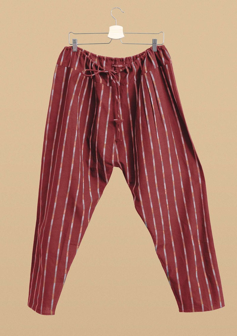 "Woven ""Ikat"" pants in cotton madder red"