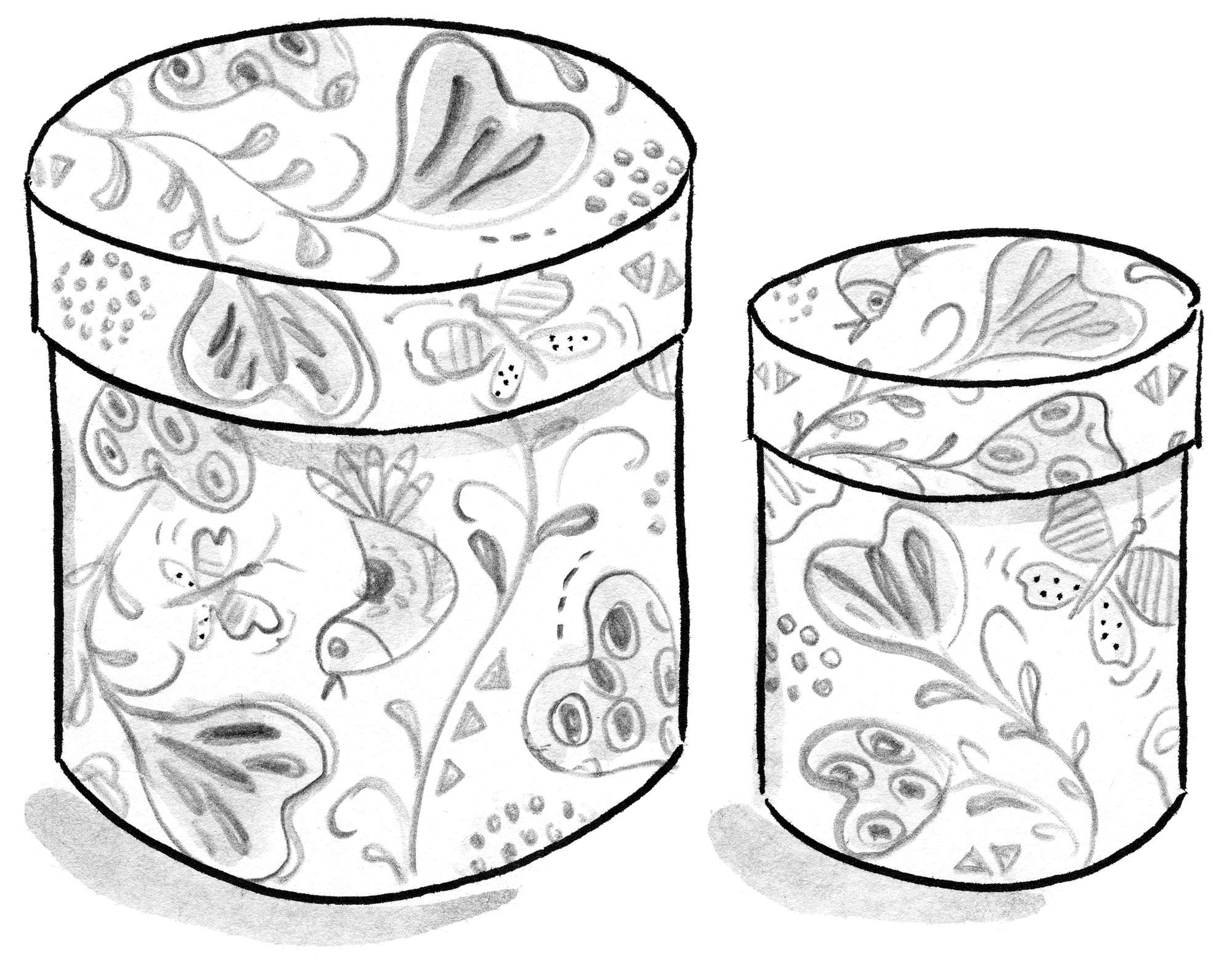 """Titli"" round boxes in recycled paper, 2-pack"