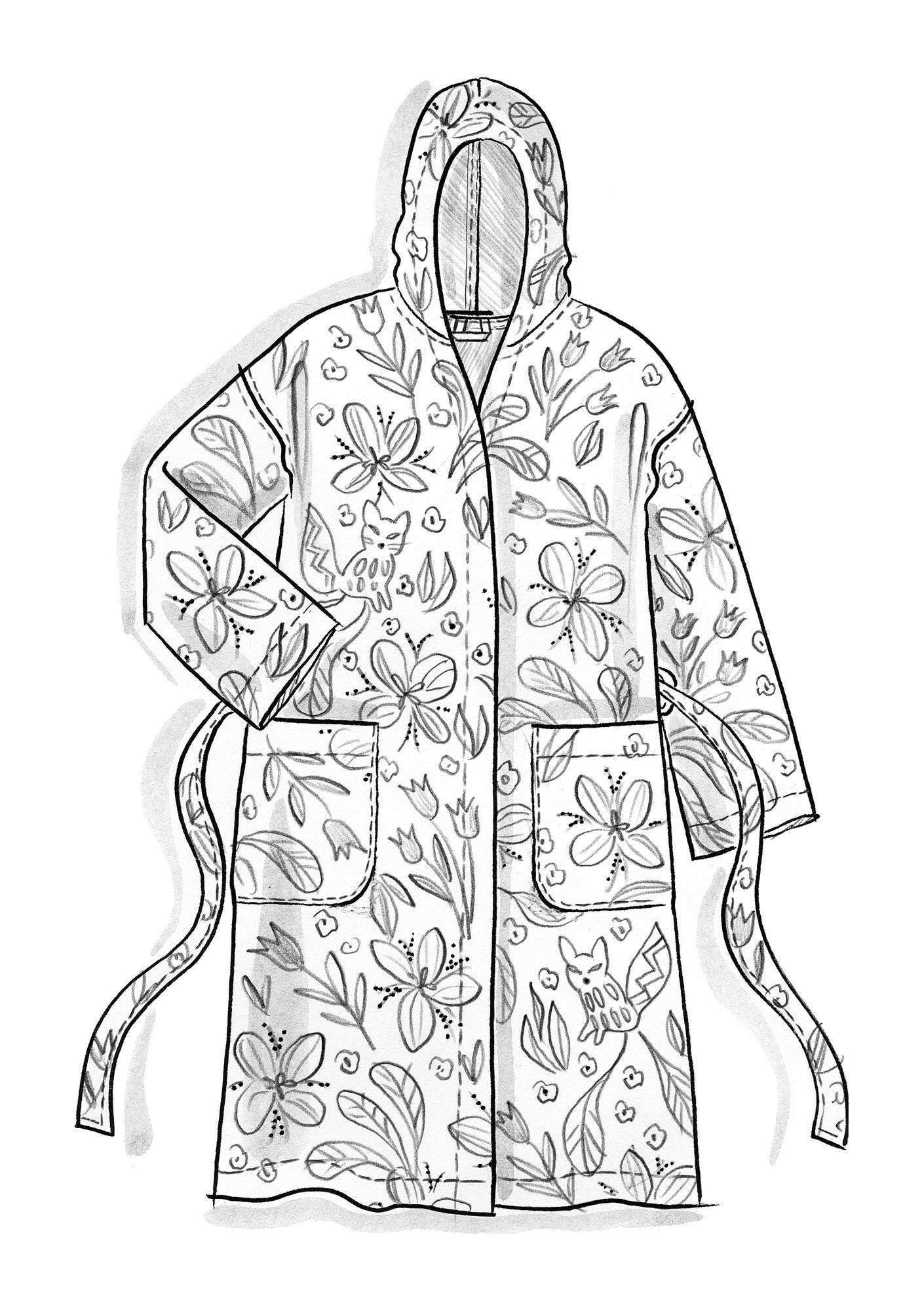 """Ide"" organic cotton bathrobe cicada"