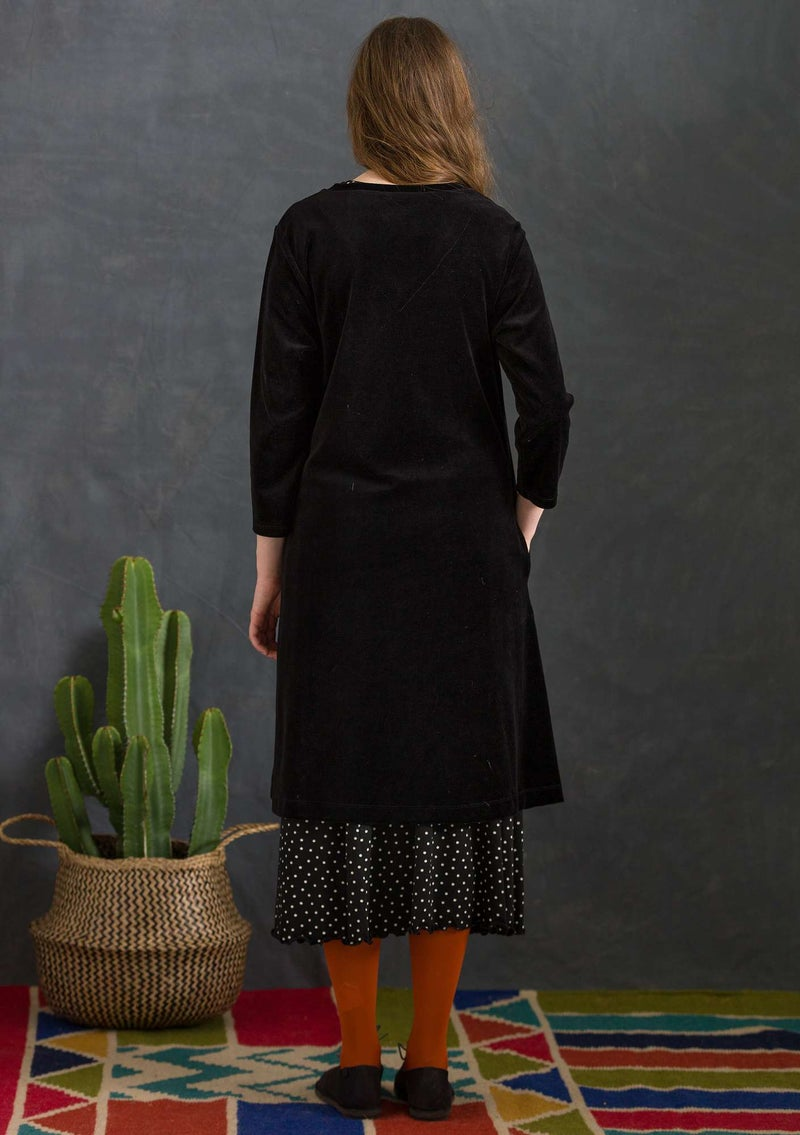 Velour dress in organic cotton/recycled polyester black