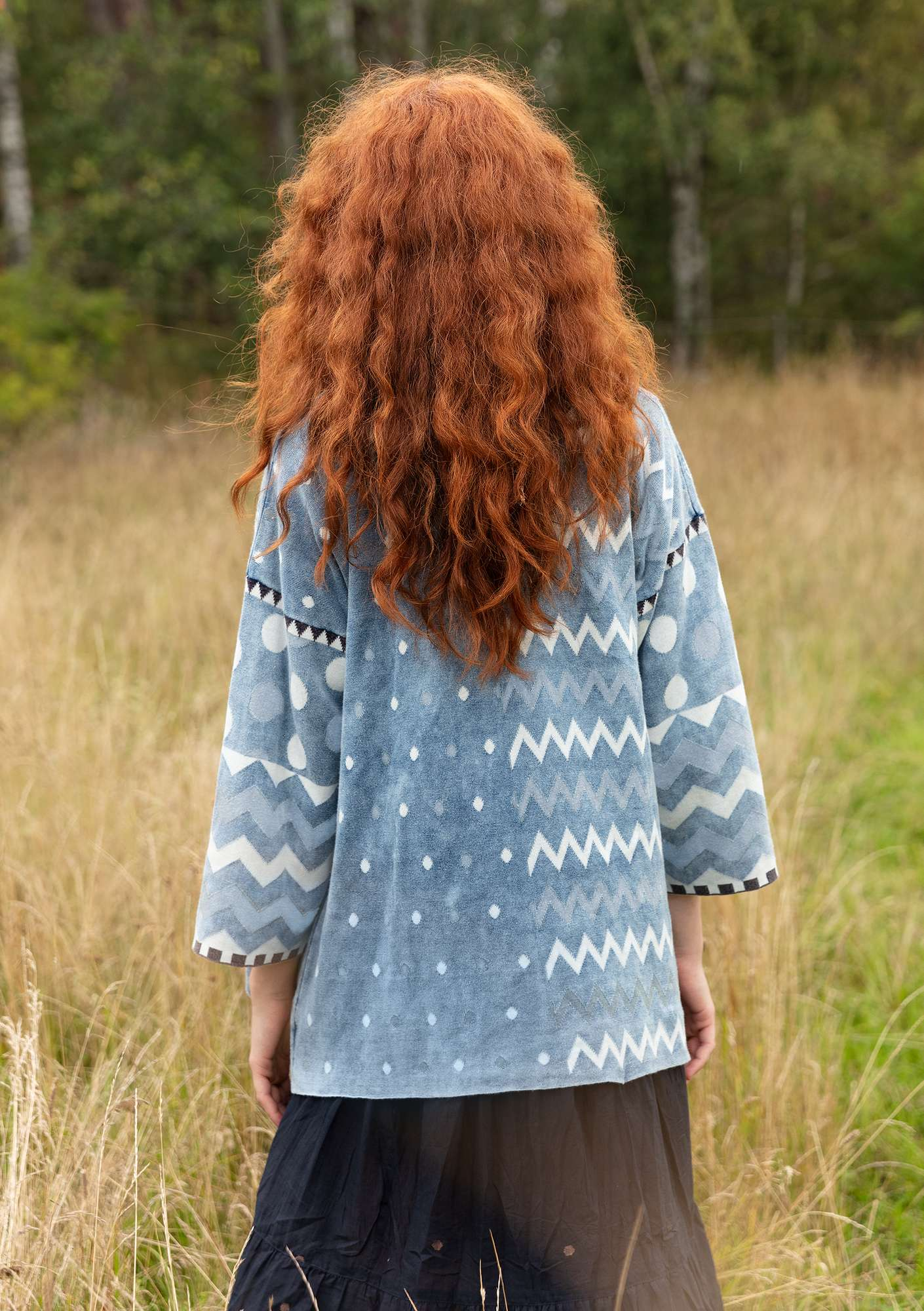"""Dragonfly"" organic cotton wraparound cardigan indigo"