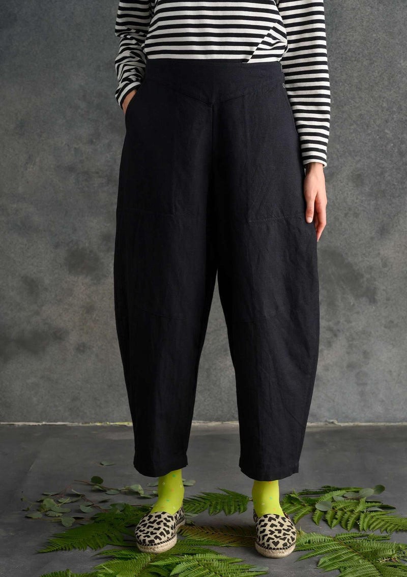 Pants in organic cotton/linen black