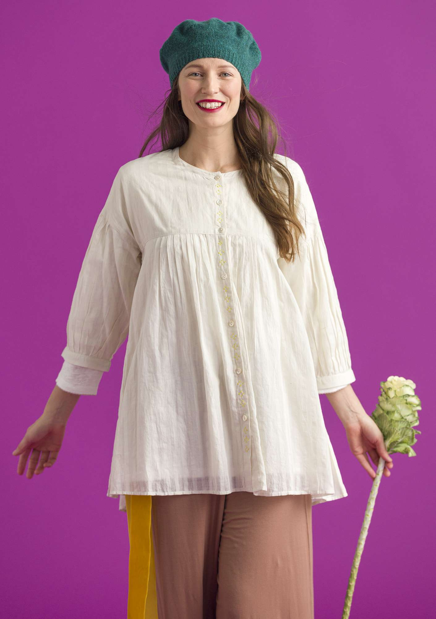 Blouse in cotton khadi offwhite