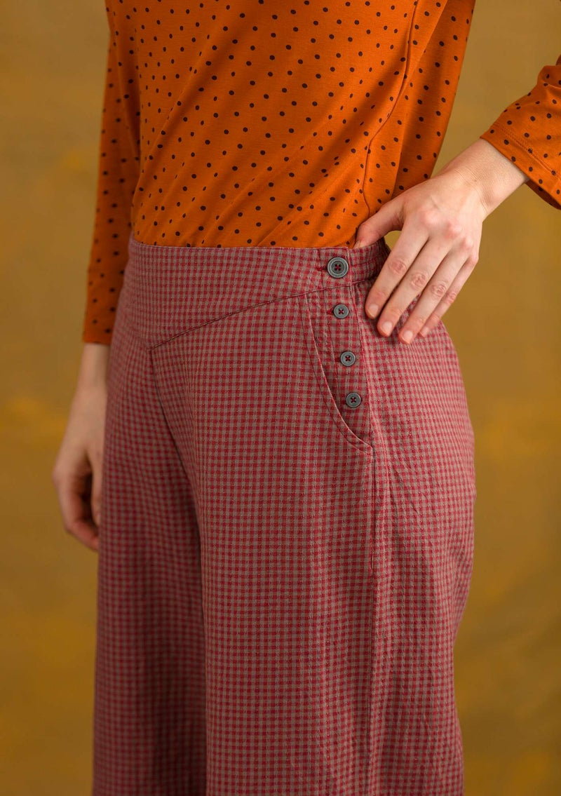 Pants in organic cotton/linen cranberry/patterned