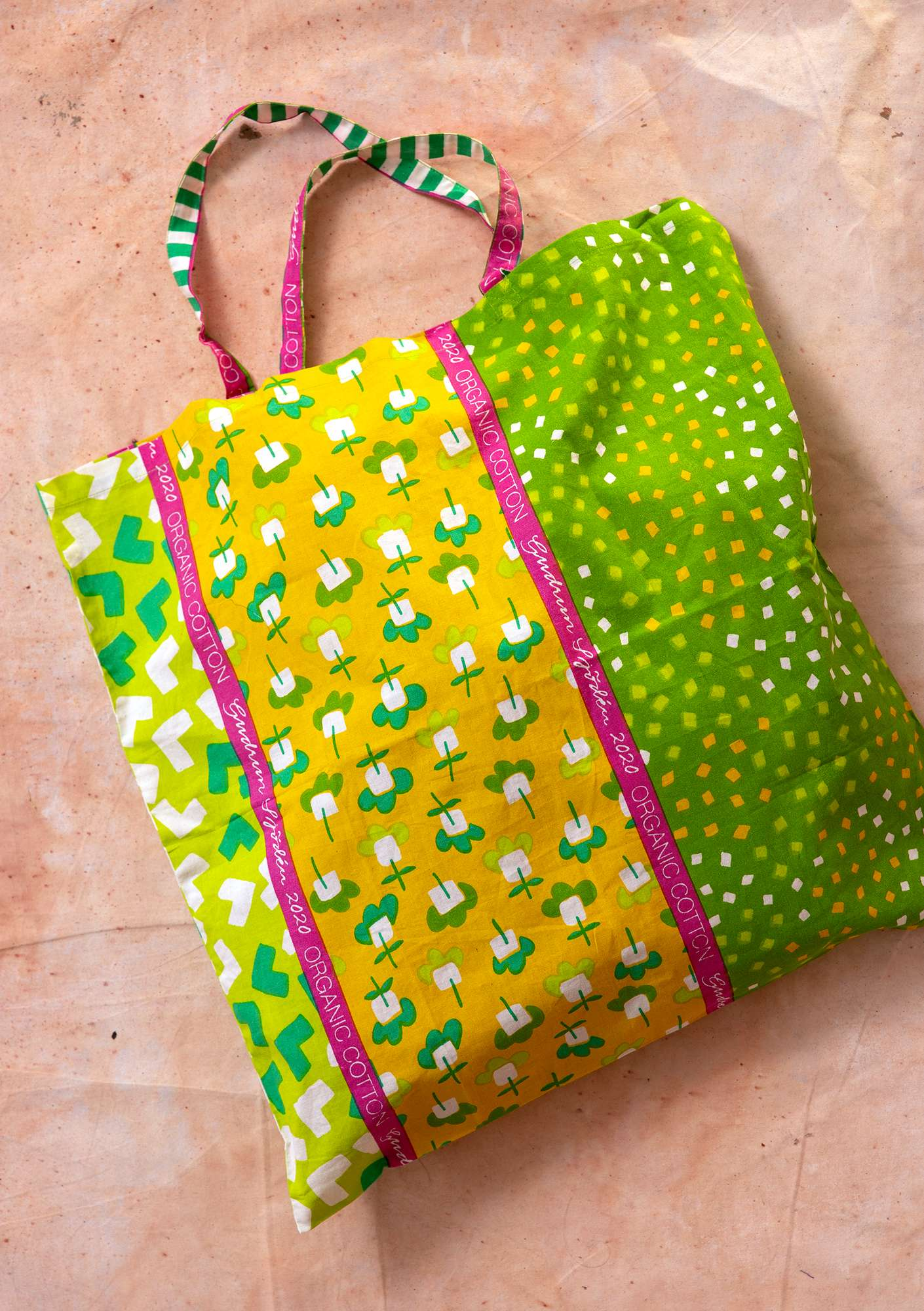 Fabric tote bag L pea green