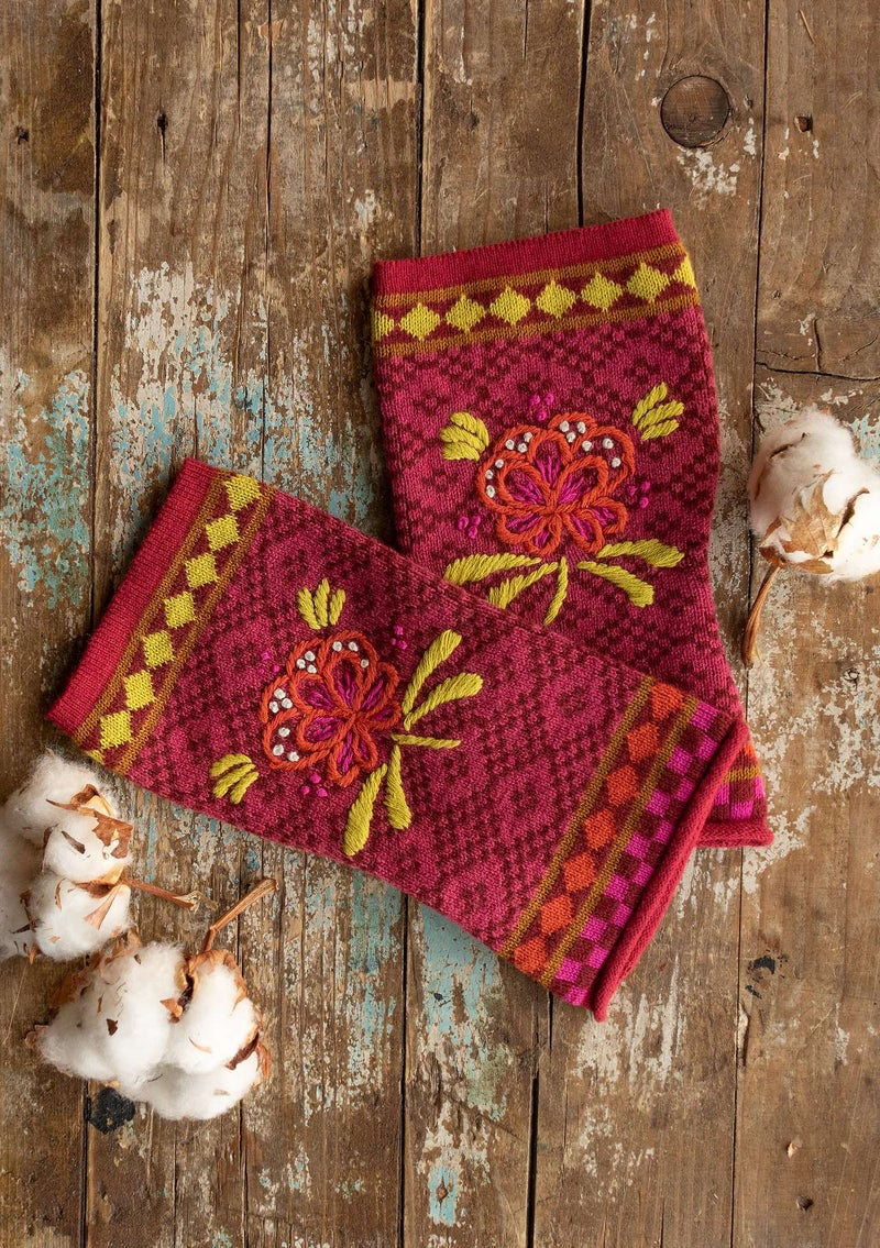 """Petrovska"" organic cotton/wool fingerless gloves agate red"