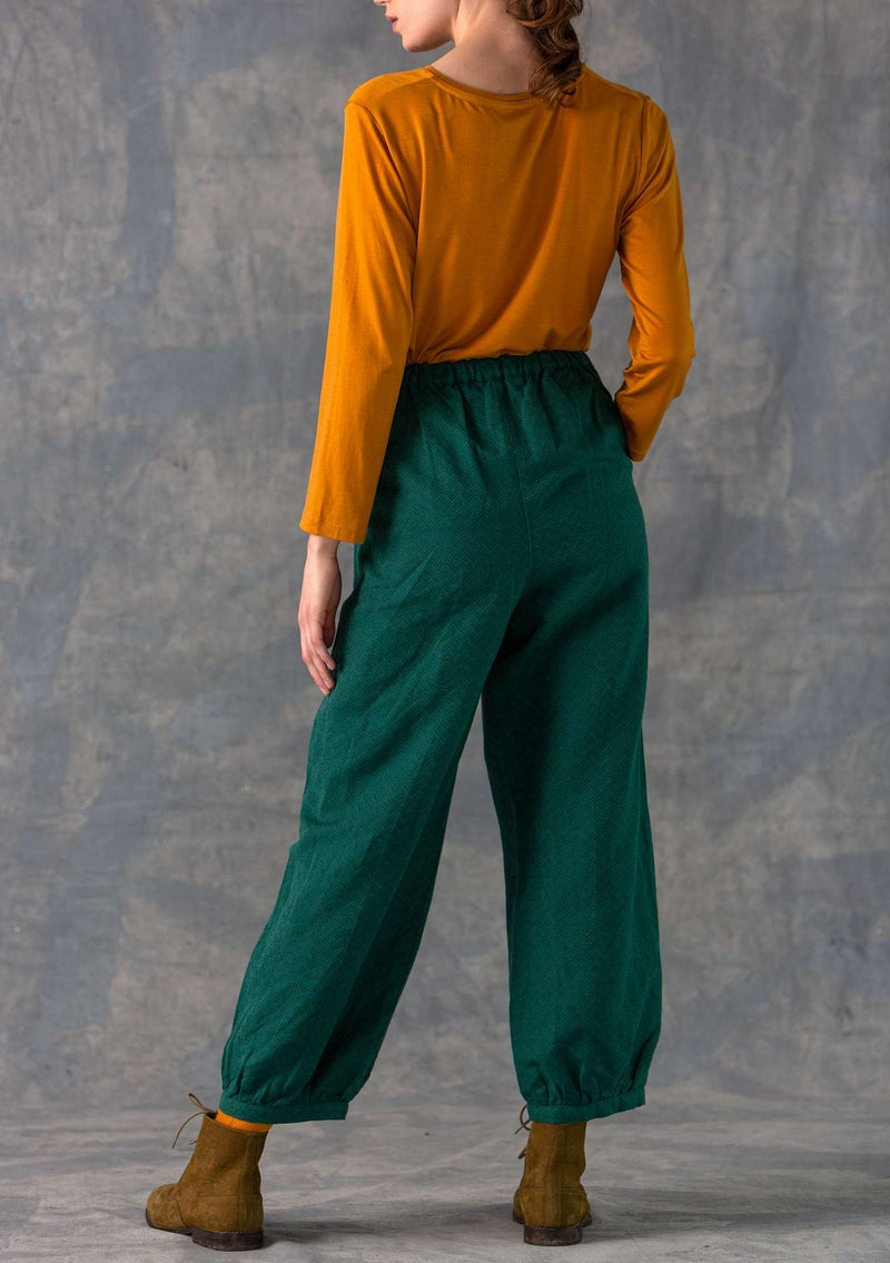 Trousers in a woven cotton/linen blend peacock green