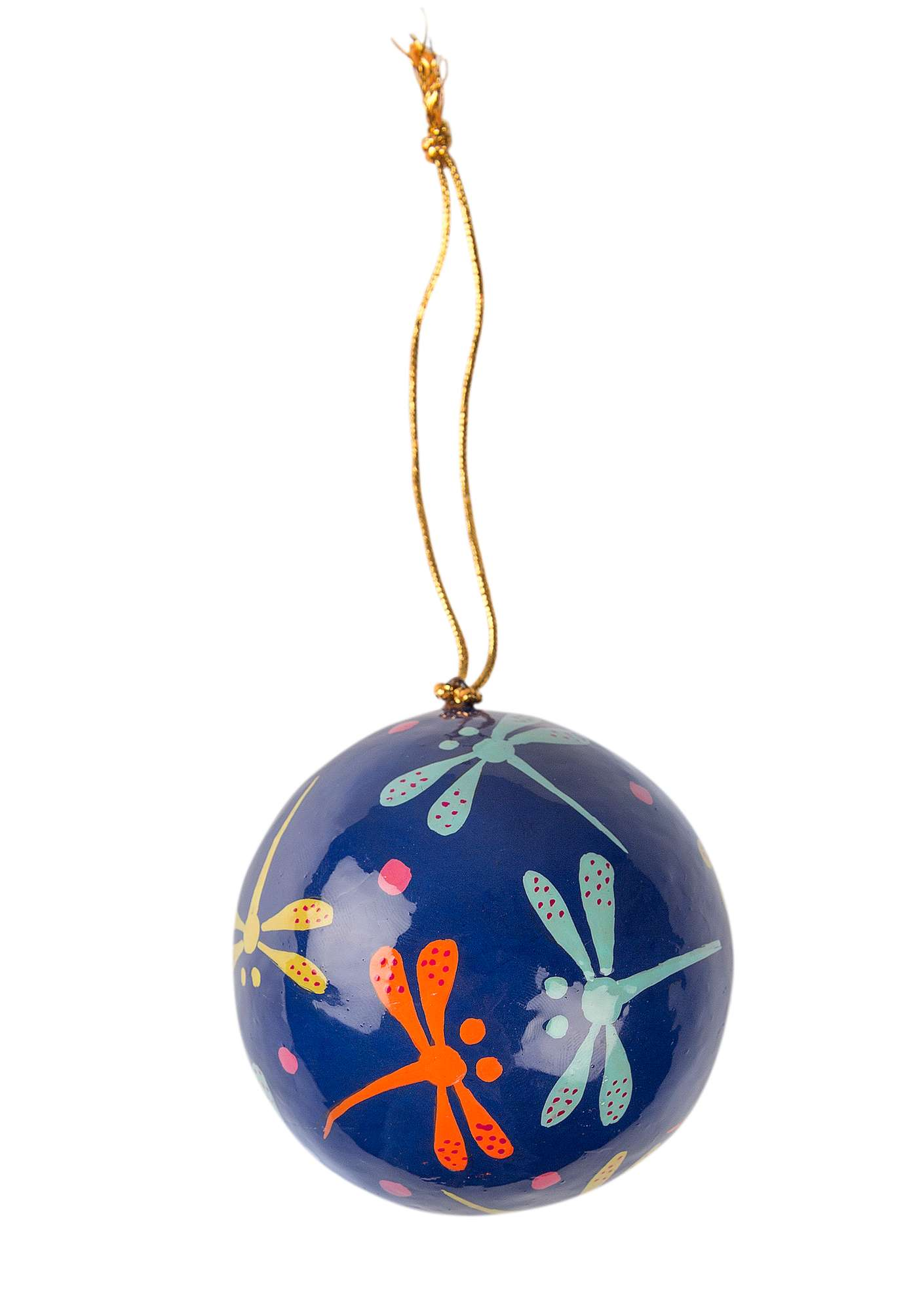 Papier-mâché Christmas-tree baubles porcelain blue